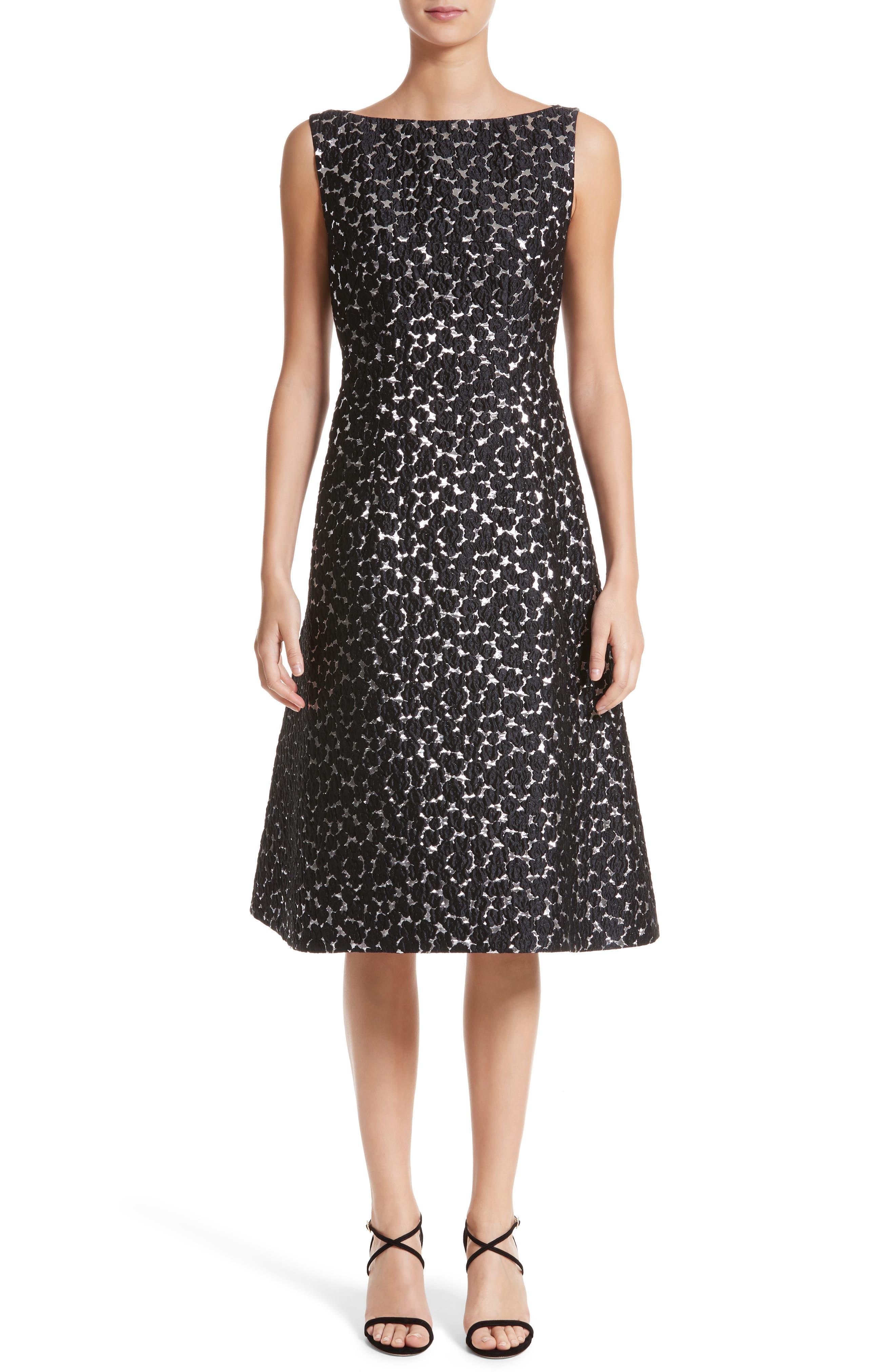 Floral Matelassé A-Line Dress,                             Main thumbnail 1, color,                             Black / Silver