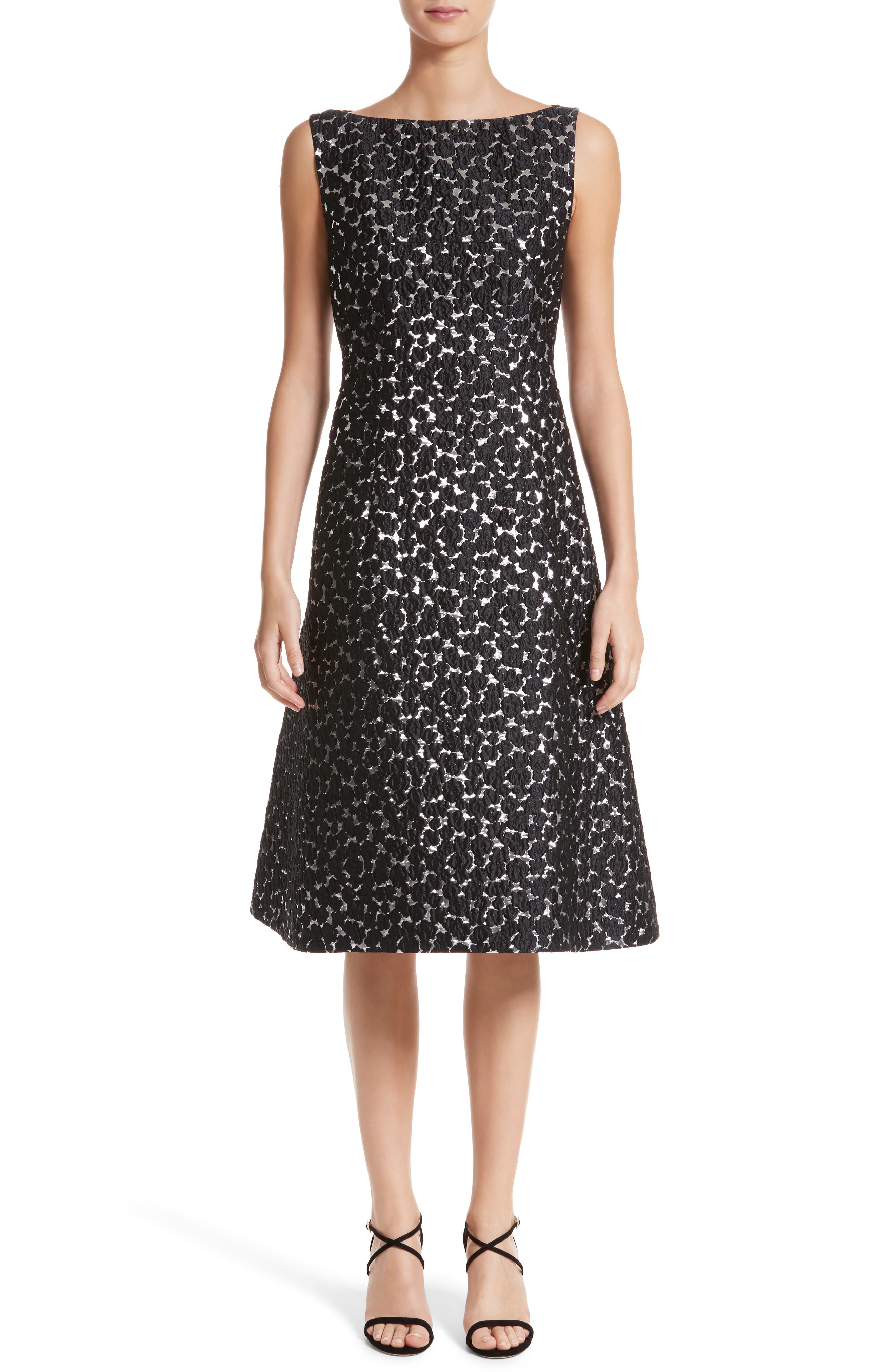 Floral Matelassé A-Line Dress,                         Main,                         color, Black / Silver