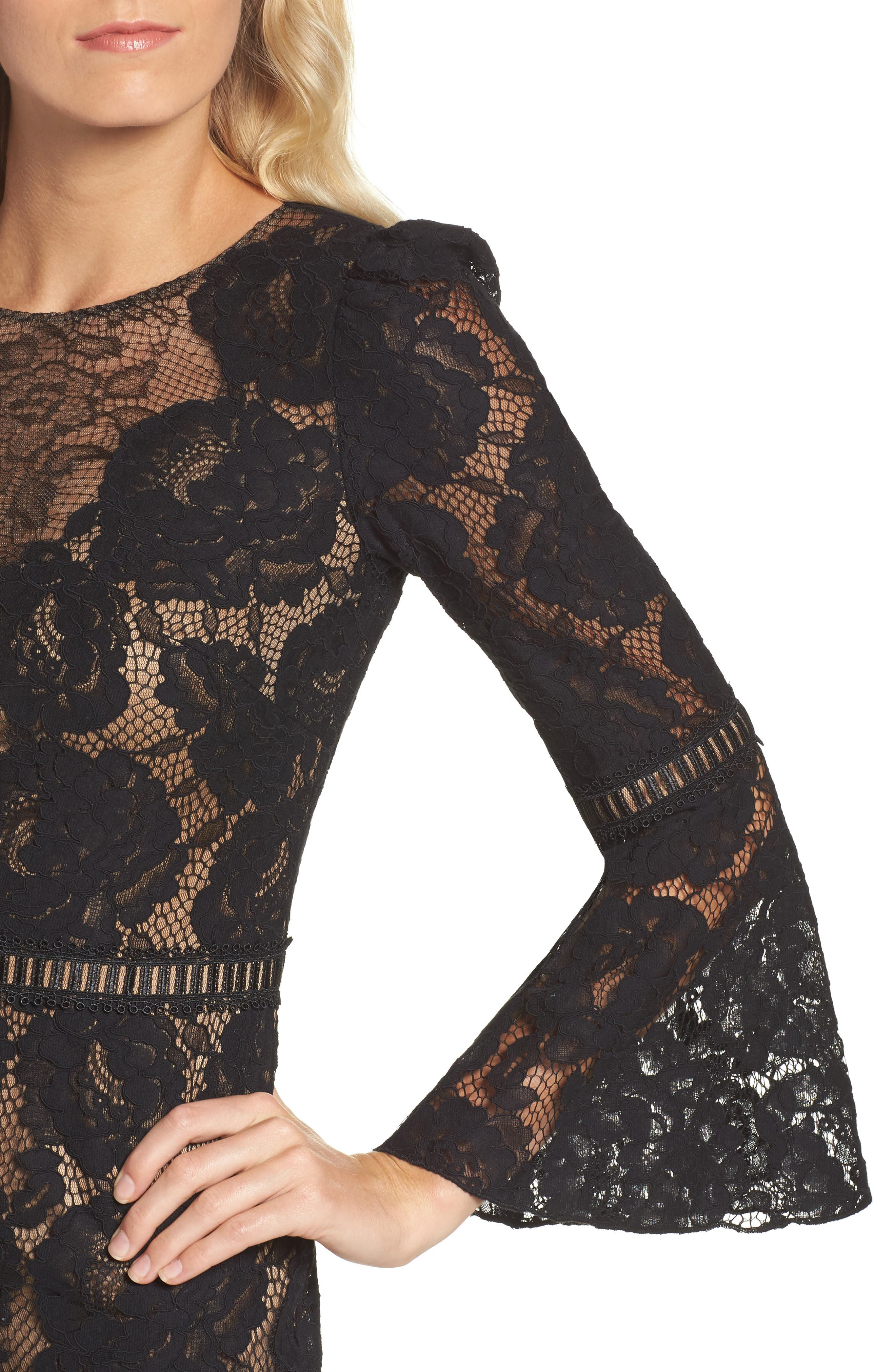 Lace Bell Sleeve Dress,                             Alternate thumbnail 4, color,                             Black/ Nude