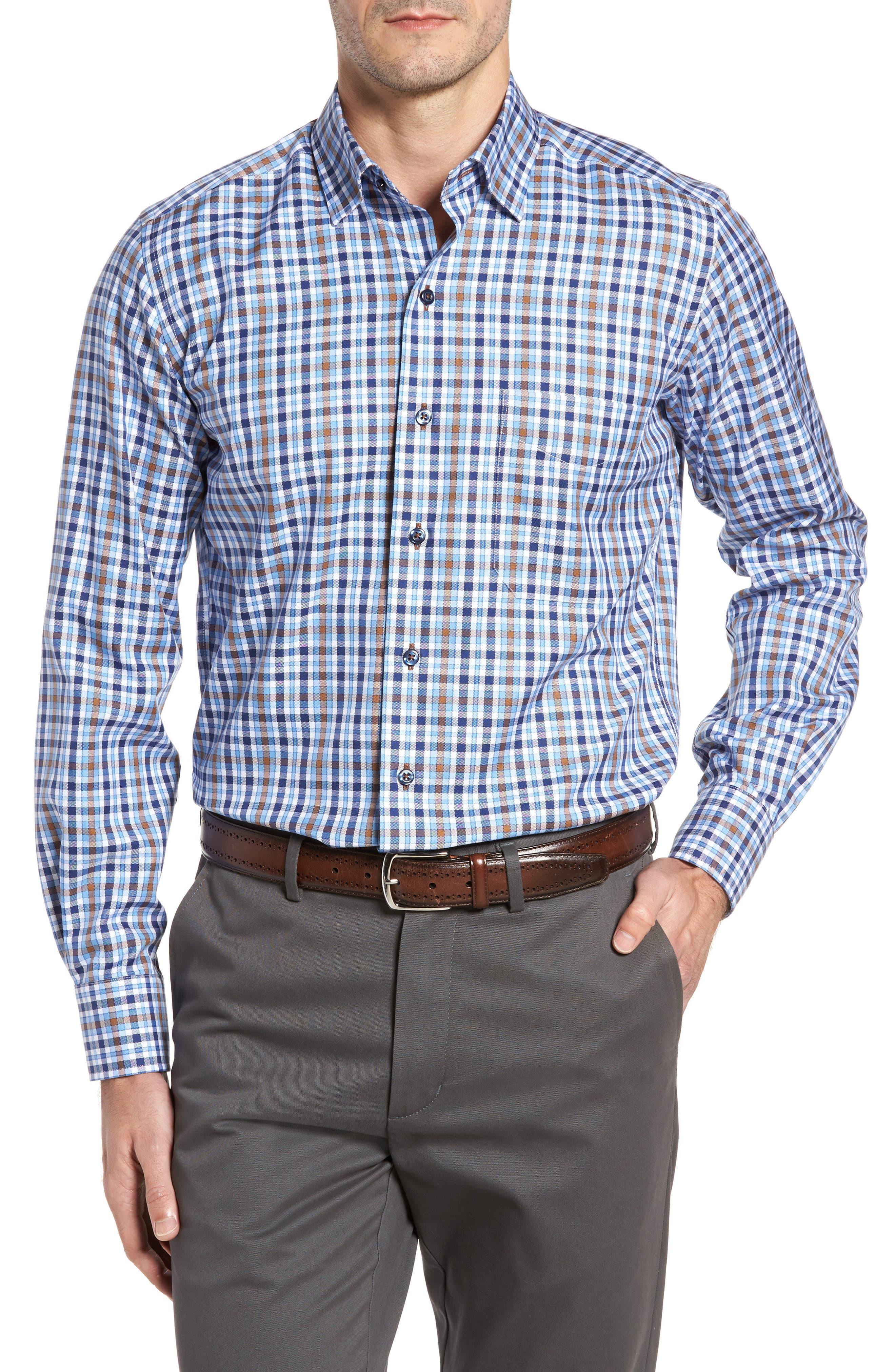 Regular Fit Plaid Sport Shirt,                         Main,                         color, Blue/ Chocolate