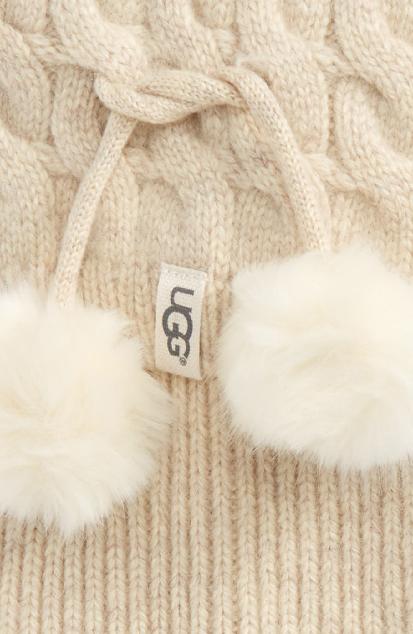 UGG UGGpure<sup>™</sup> Pompom Tall Rain Boot Sock,                             Alternate thumbnail 2, color,                             Cream Heather Wool