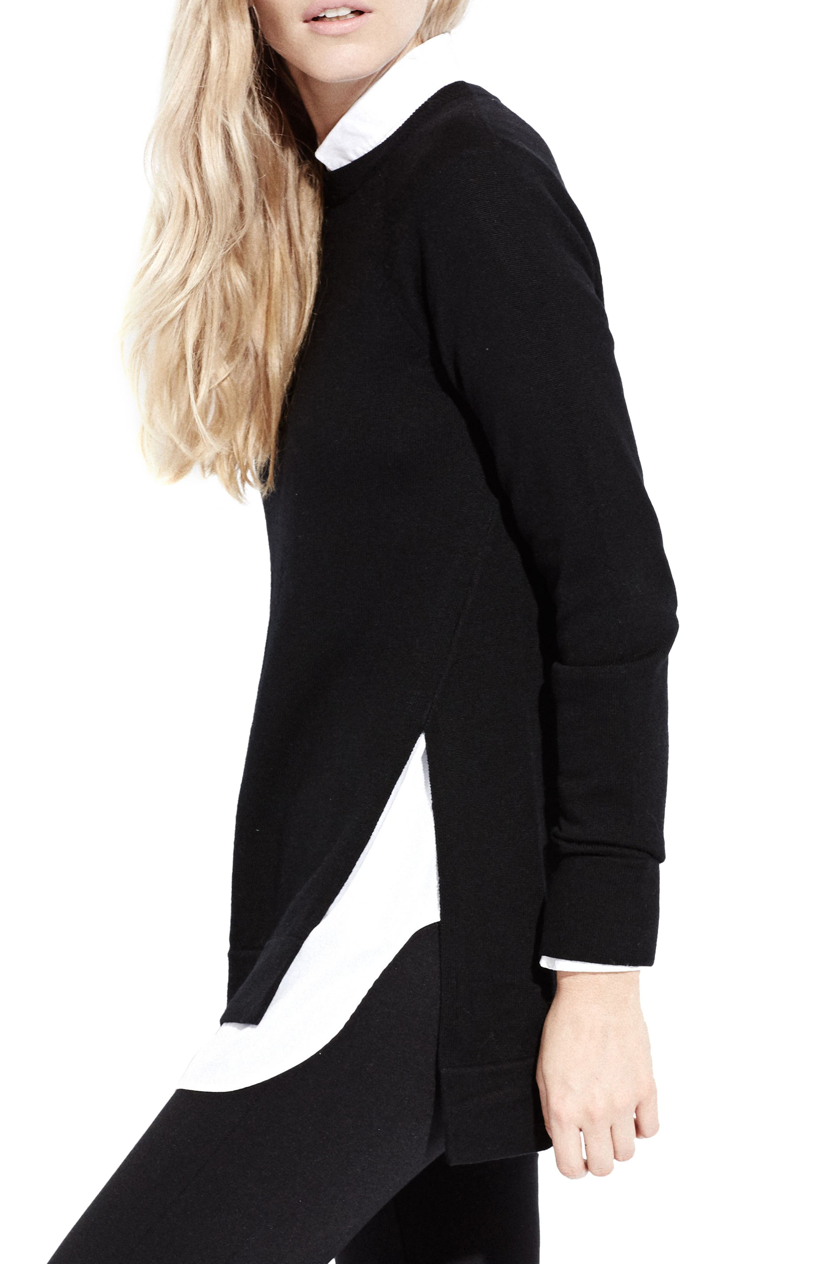 The Twisted Seam Tunic,                             Alternate thumbnail 3, color,                             Black
