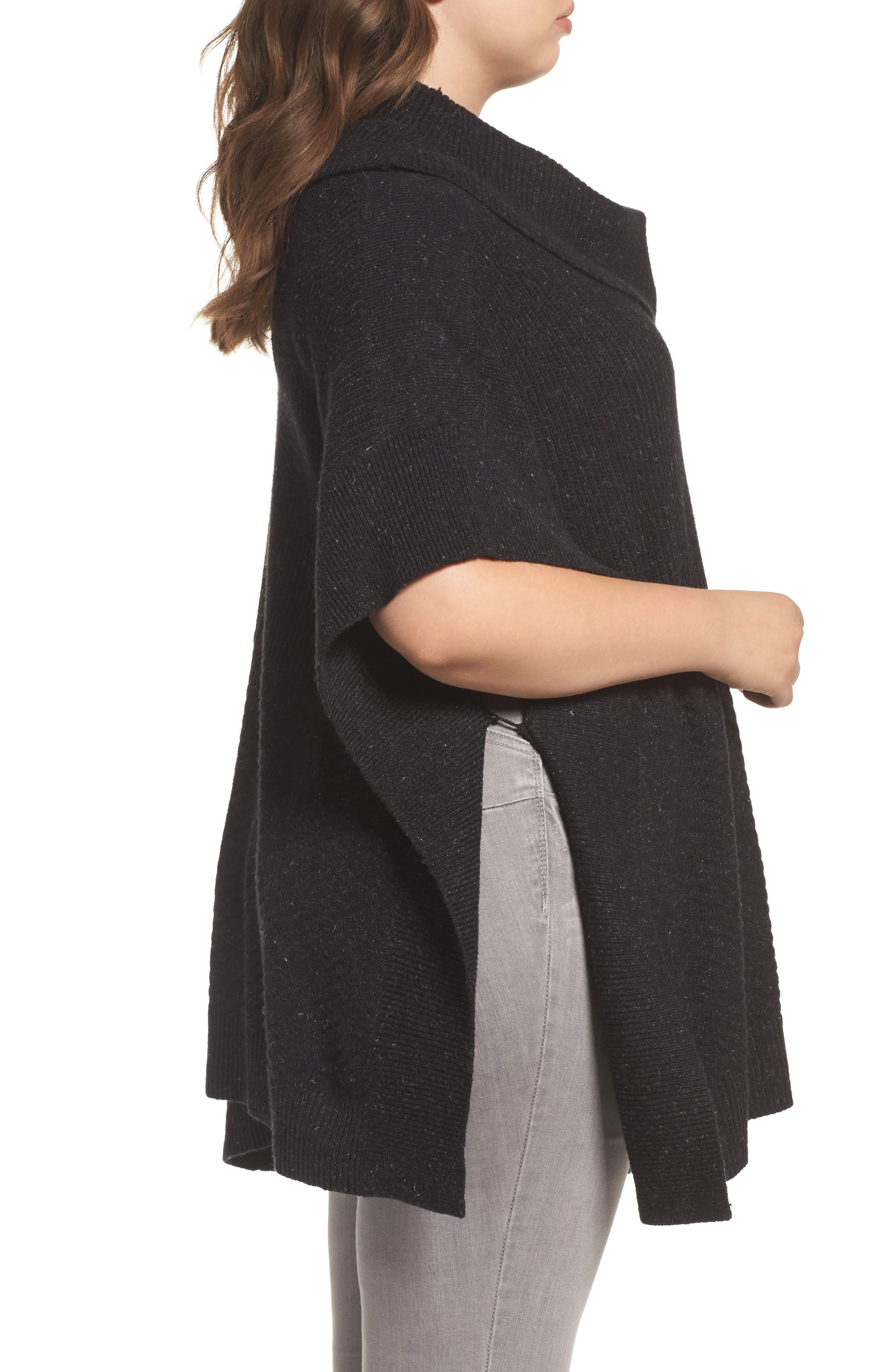 Mixed Stitch Poncho Sweater,                             Alternate thumbnail 3, color,                             Black