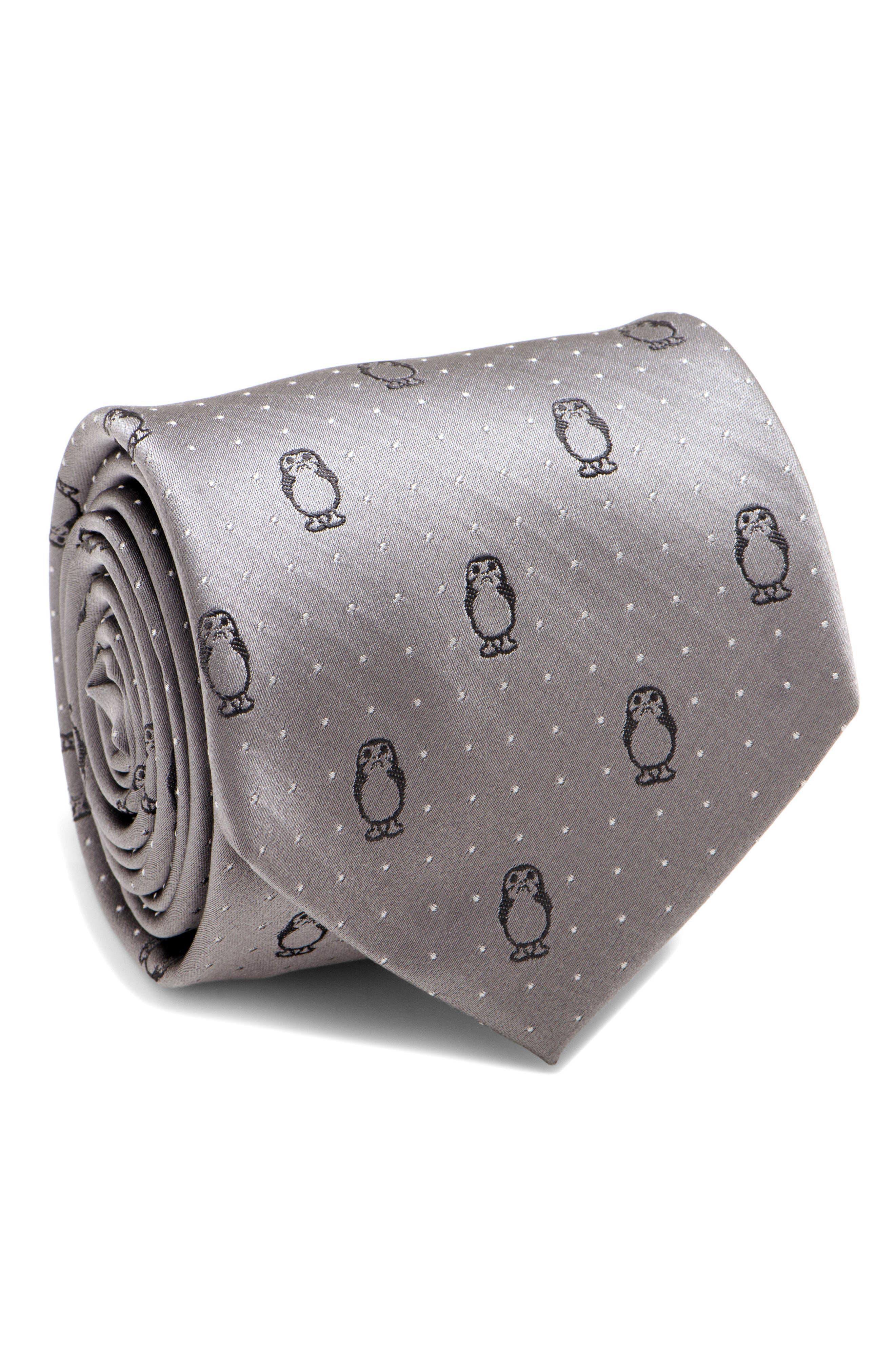 Porg Silk Tie,                         Main,                         color, Grey
