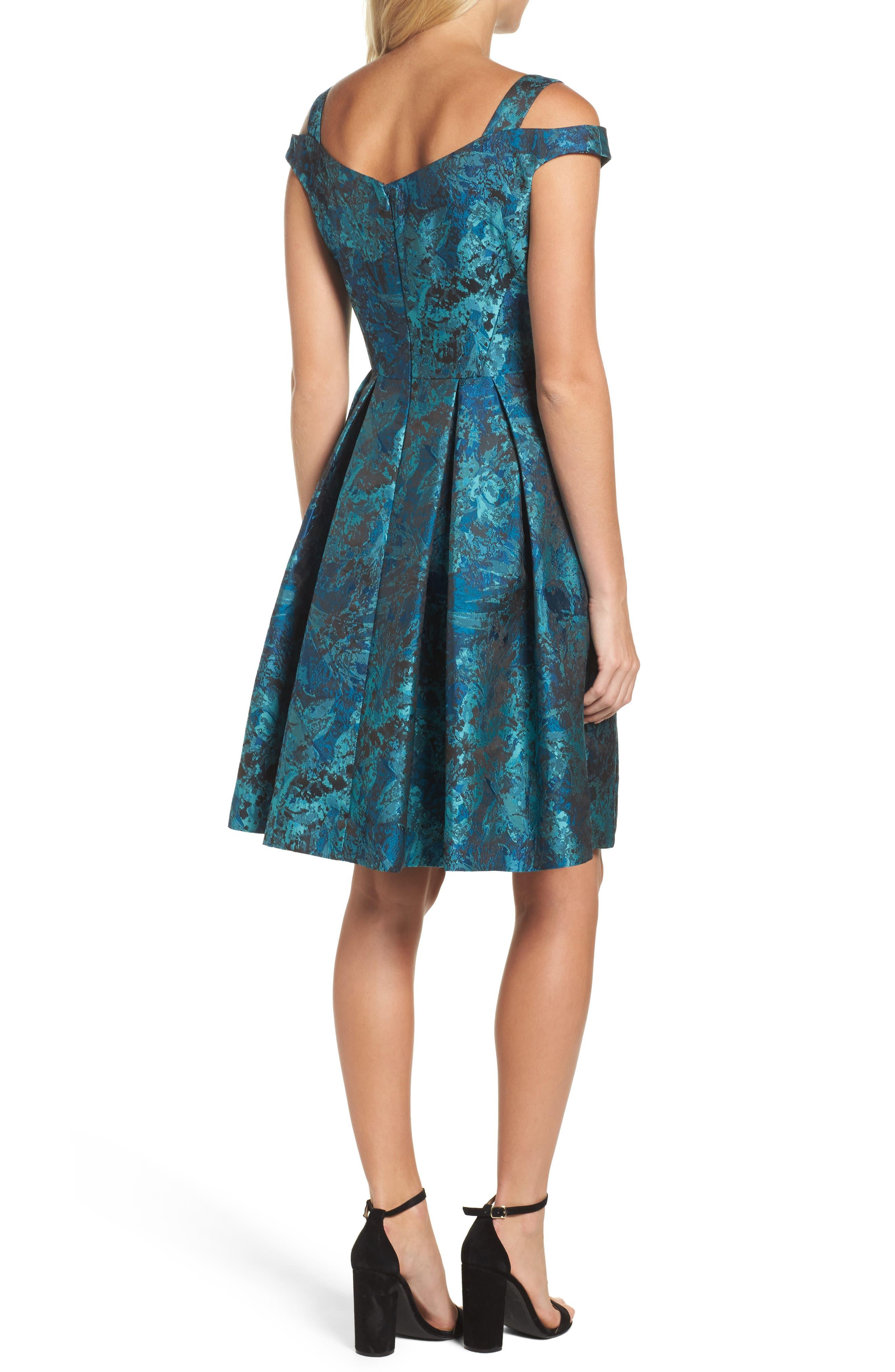 Cold Shoulder Brocade Dress,                             Alternate thumbnail 2, color,                             Black/ Emerald