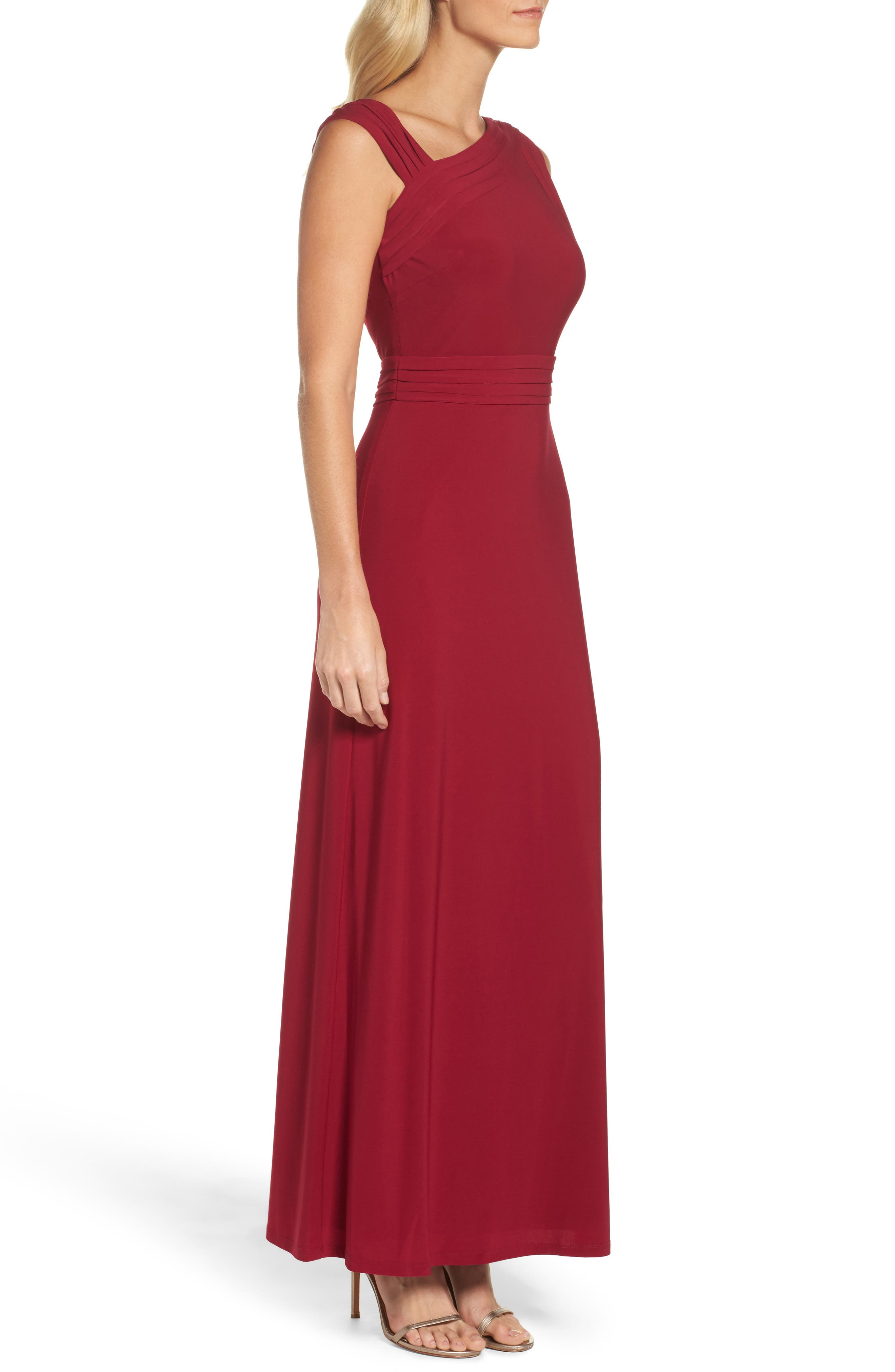 Asymmetrical Neck Jersey Gown,                             Alternate thumbnail 3, color,                             Garnet