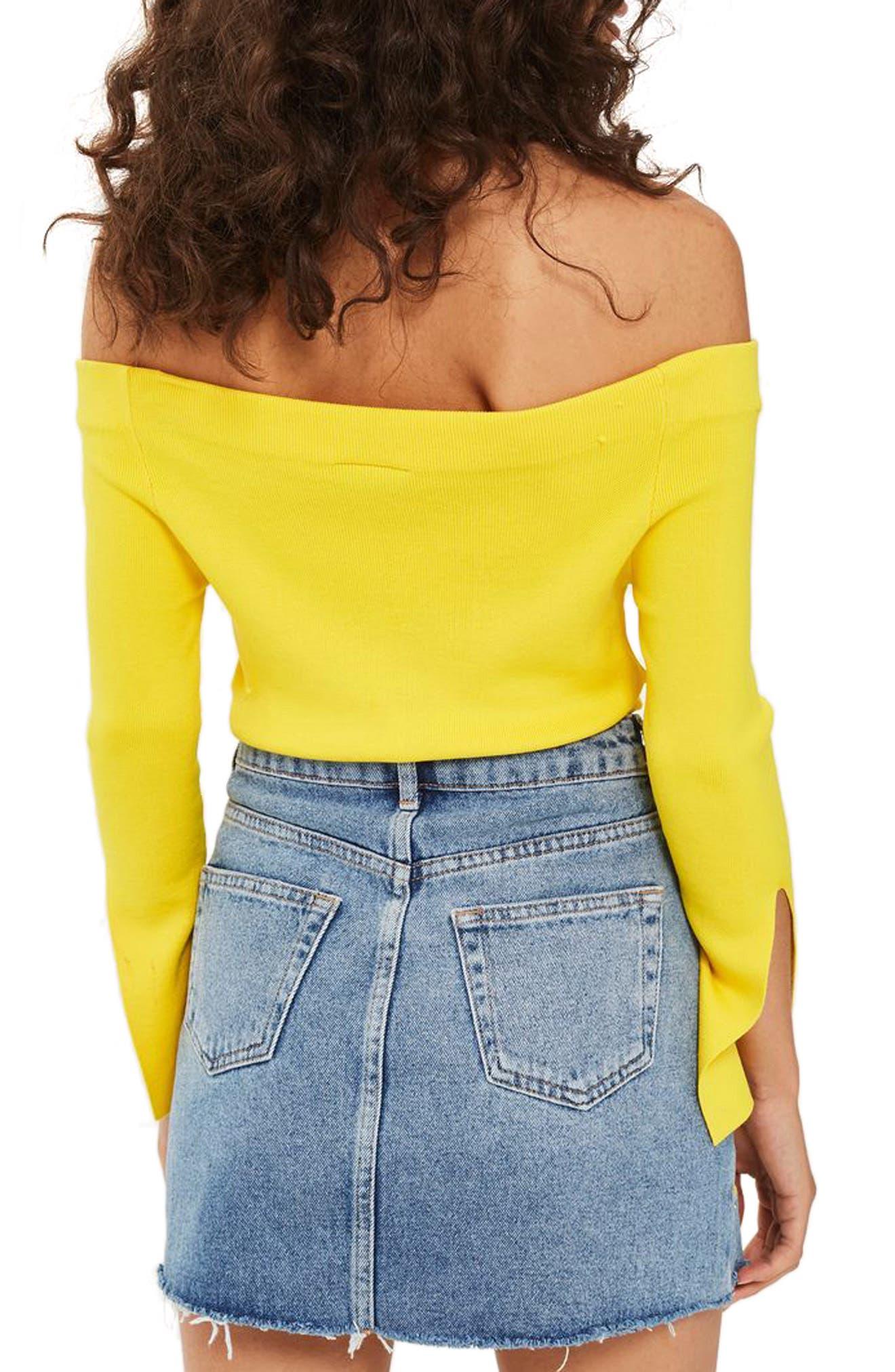 Alternate Image 3  - Topshop Floral Stud Denim Miniskirt