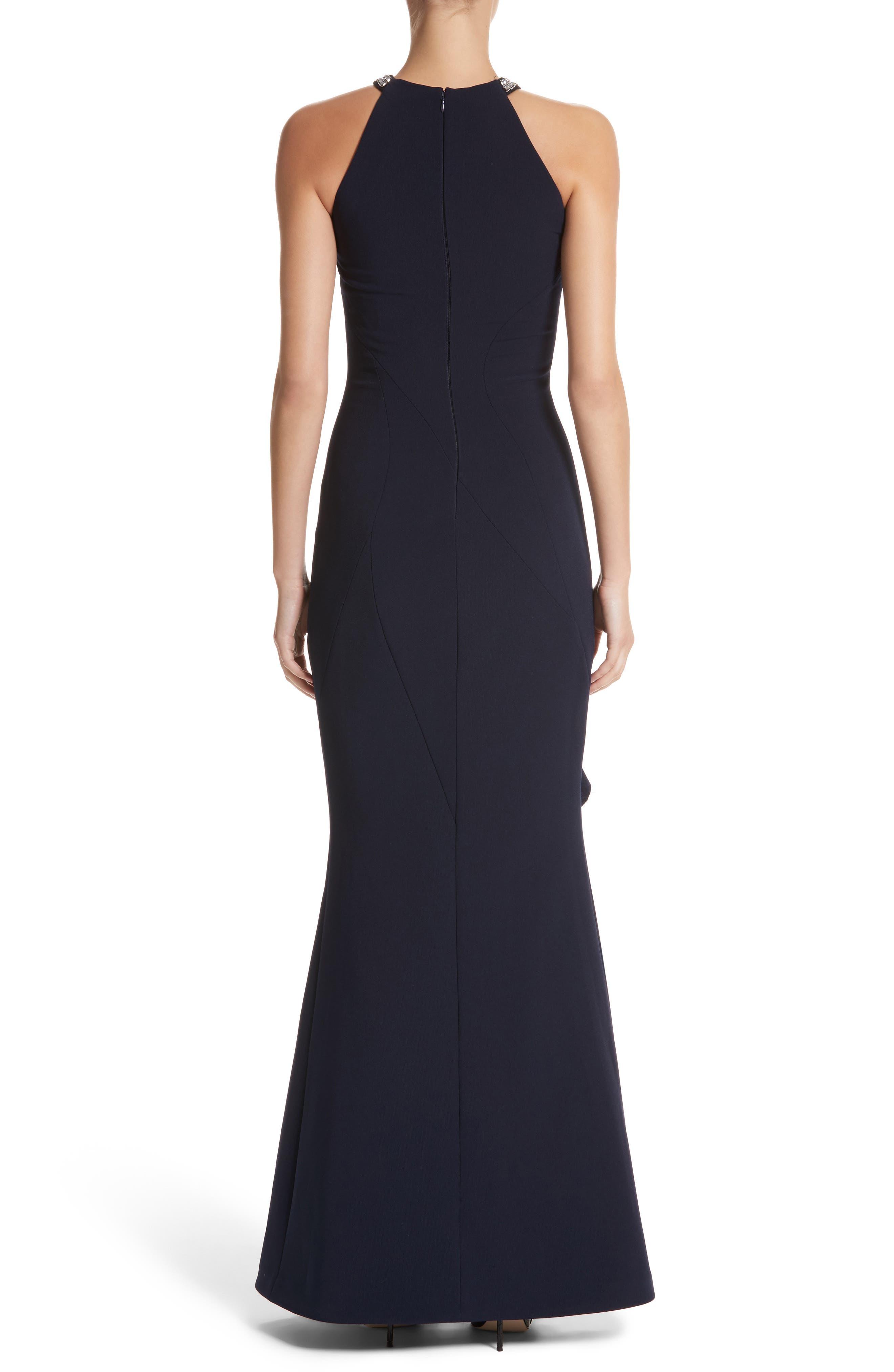Alternate Image 2  - Rachel Gilbert Embellished Frill Front Crepe Gown