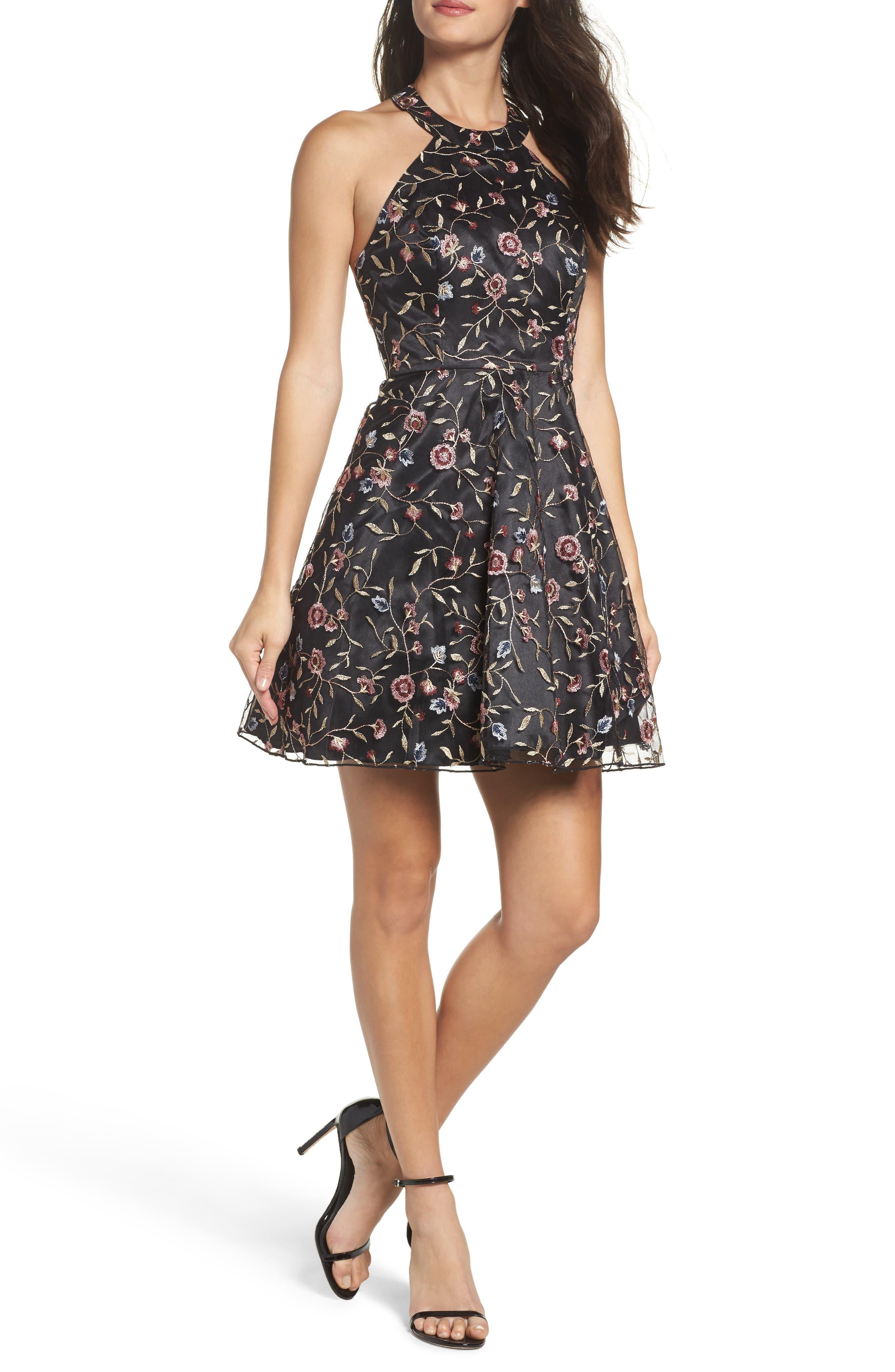 SEQUIN HEARTS Floral Embroidered Halter Skater Dress