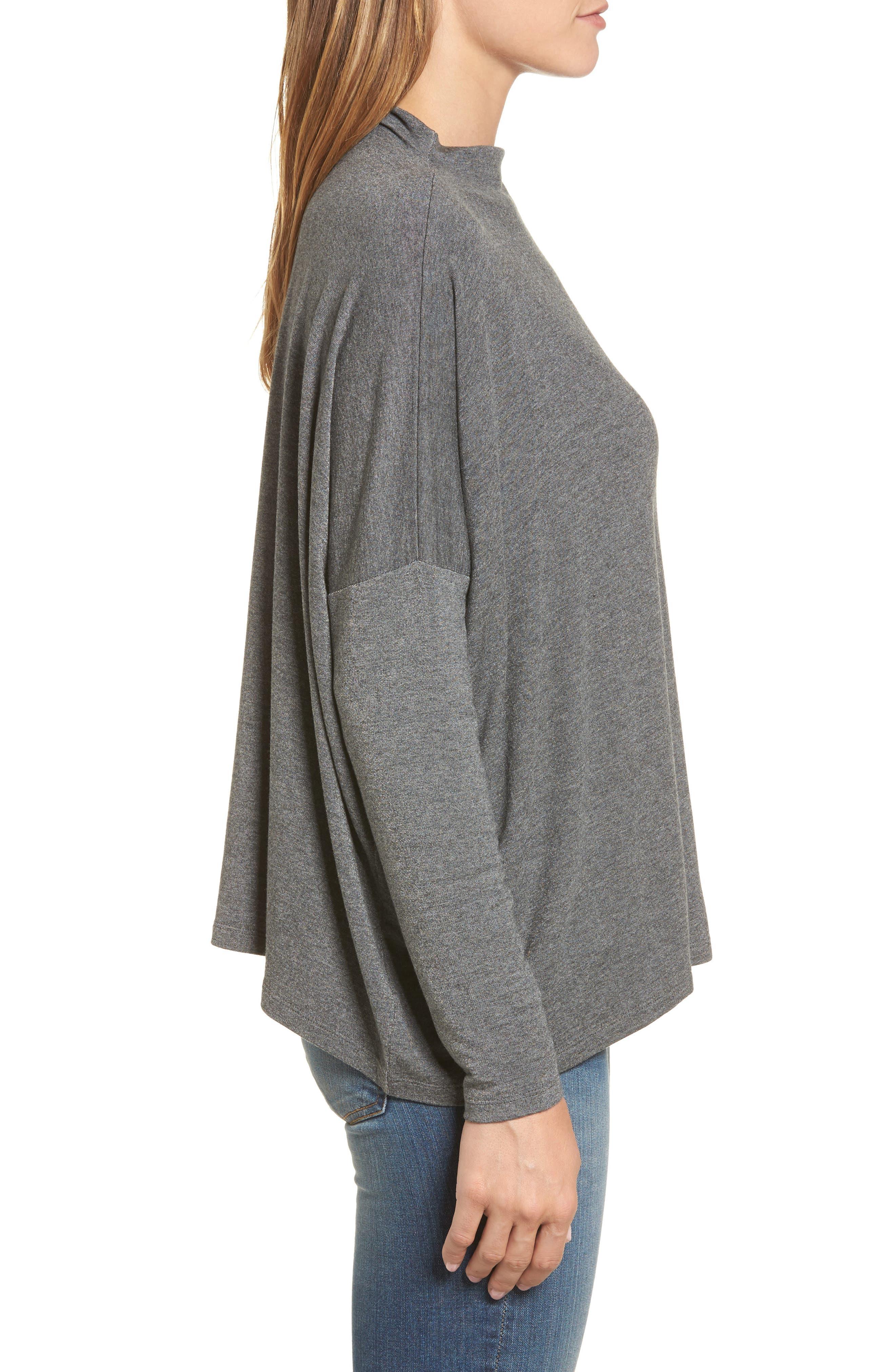 High Neck Sweatshirt,                             Alternate thumbnail 3, color,                             Charcoal Mix