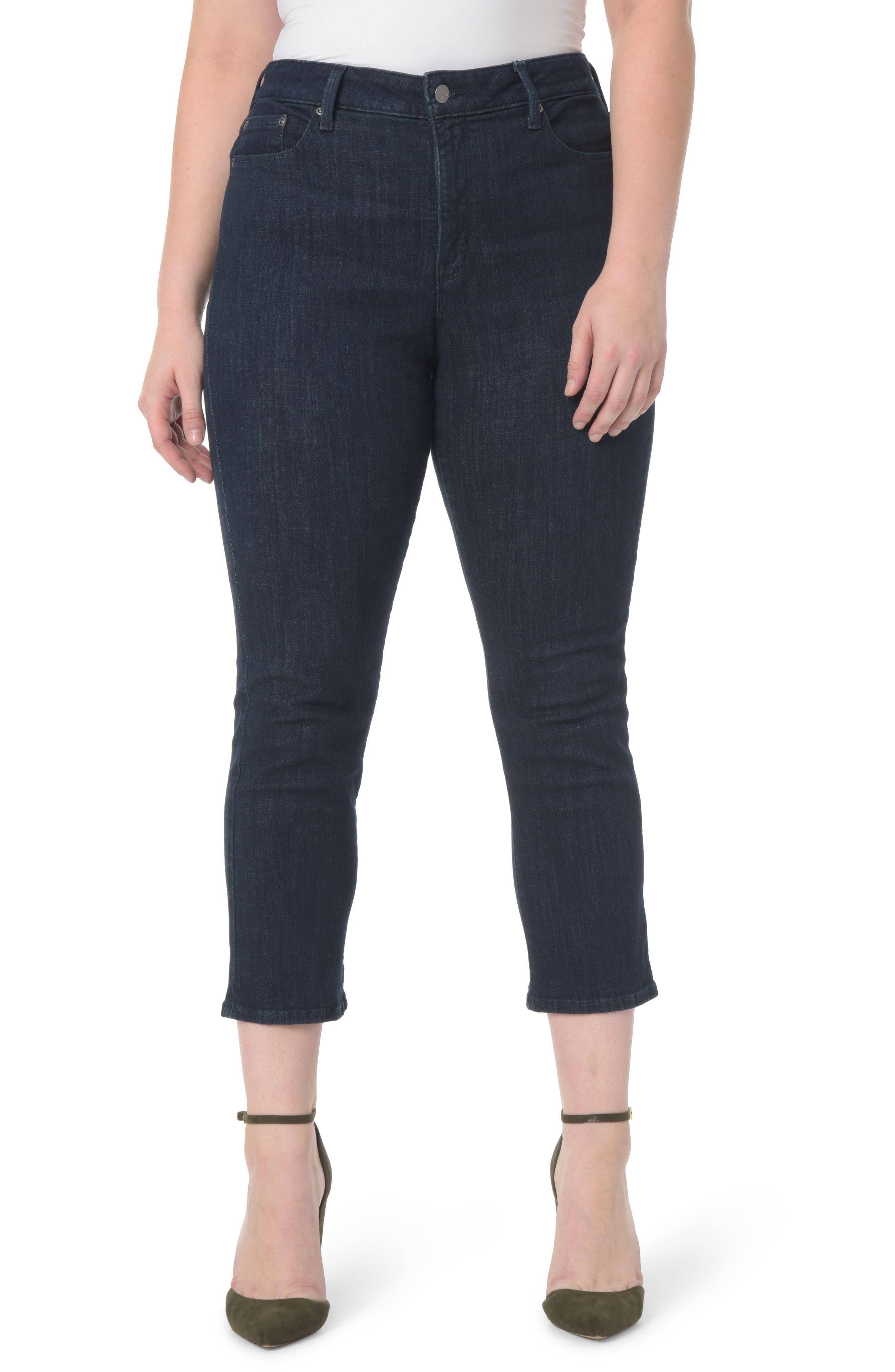 NYDJ Marilyn Stretch Straight Leg Crop Jeans (Rambard) (Plus Size)