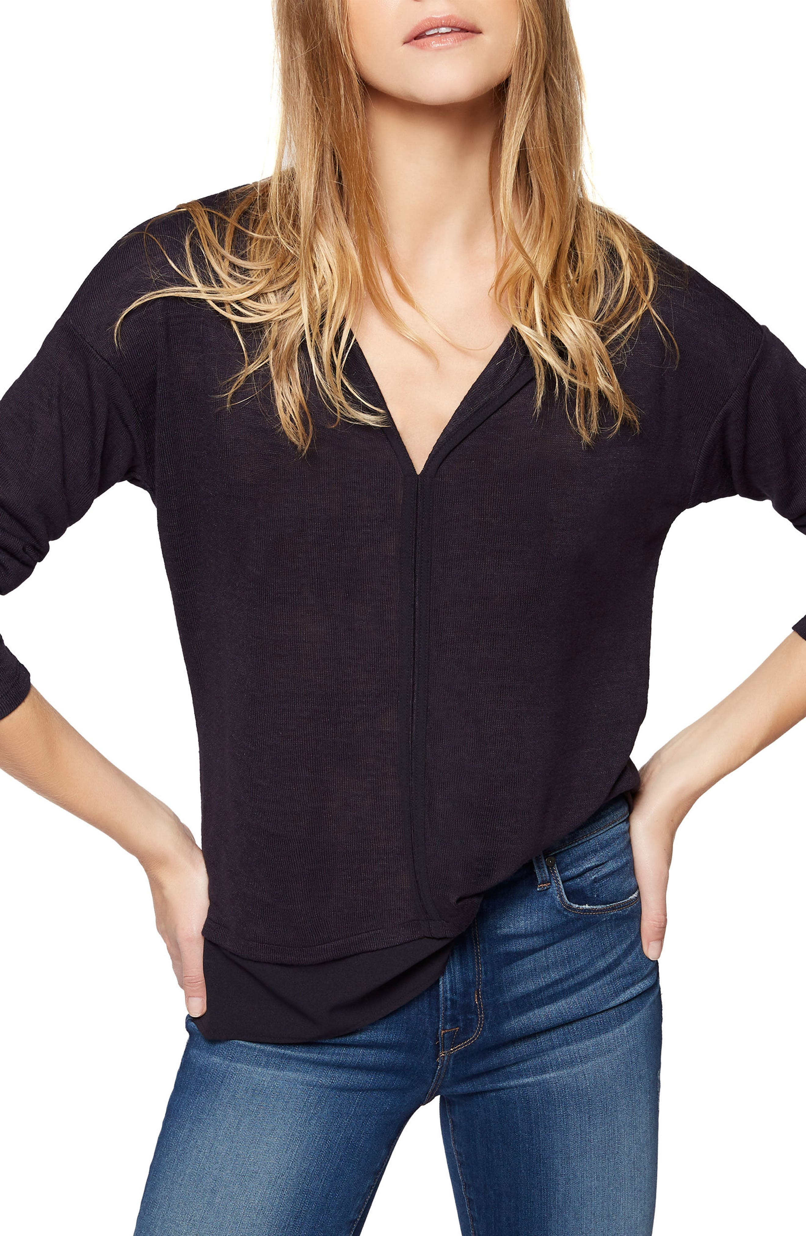 Alternate Image 1 Selected - Sanctuary 'Hanna' Split Neck Knit Top (Regular & Petite)