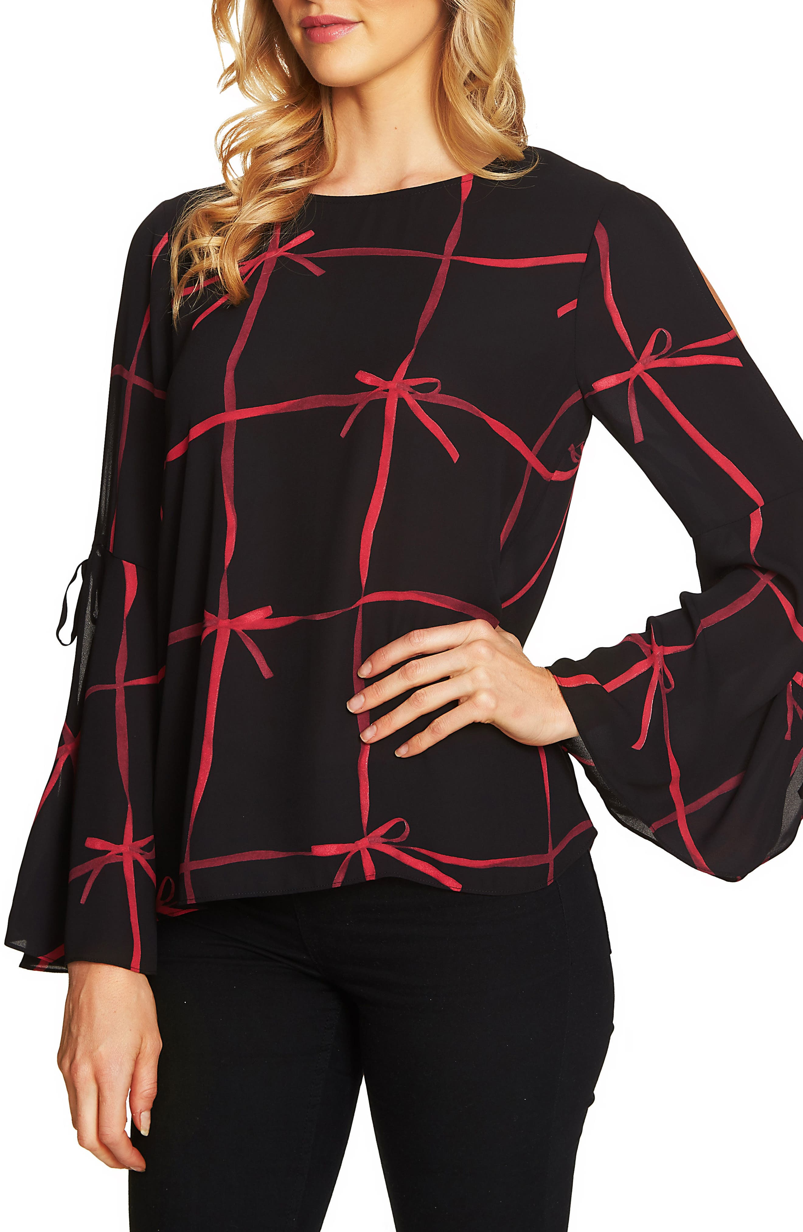 Lattice Ribbons Bell Sleeve Blouse,                         Main,                         color, Ribbon Red