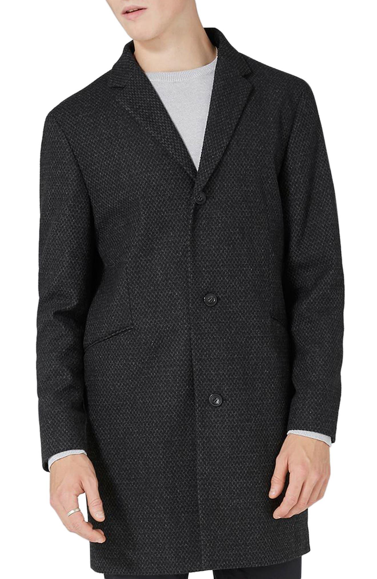 Textured Overcoat,                             Main thumbnail 1, color,                             Dark Grey