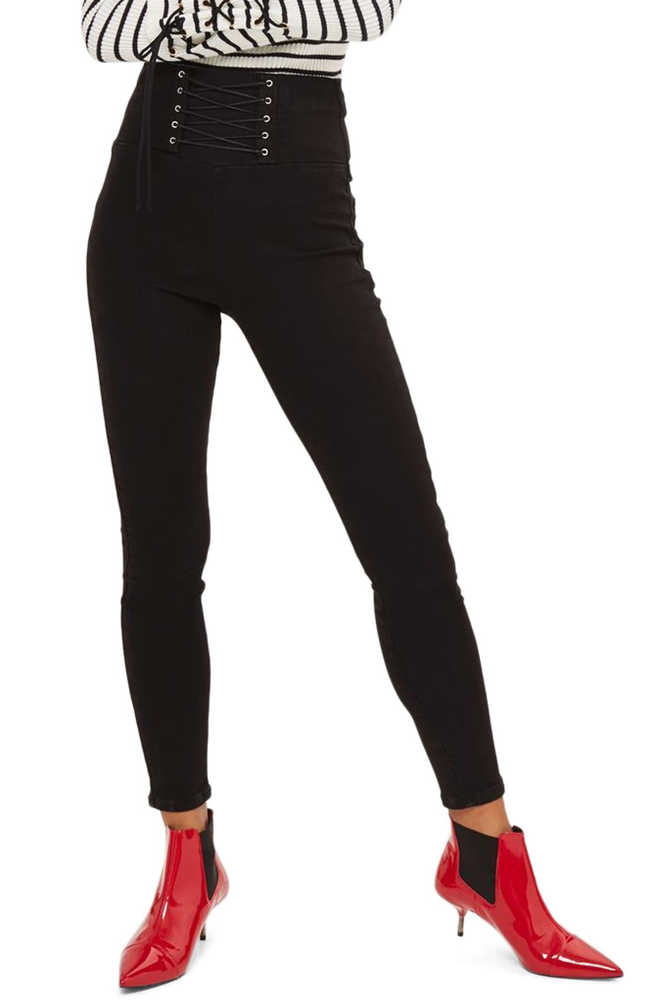 Alternate Image 1 Selected - Topshop Jamie Corset High Waist Skinny Jeans