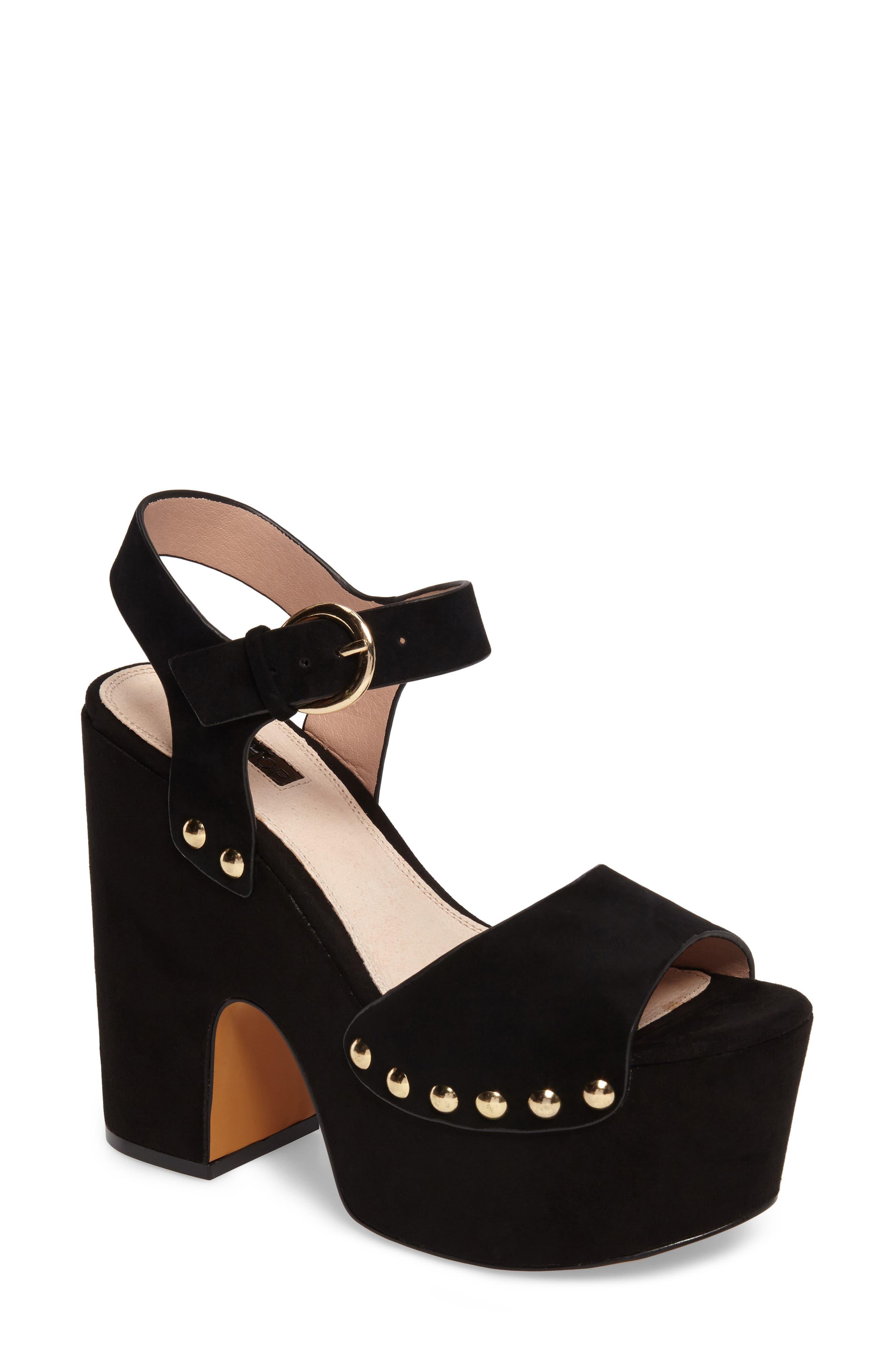 Lourdes Embroidered Platform Sandal,                         Main,                         color, Solid Black