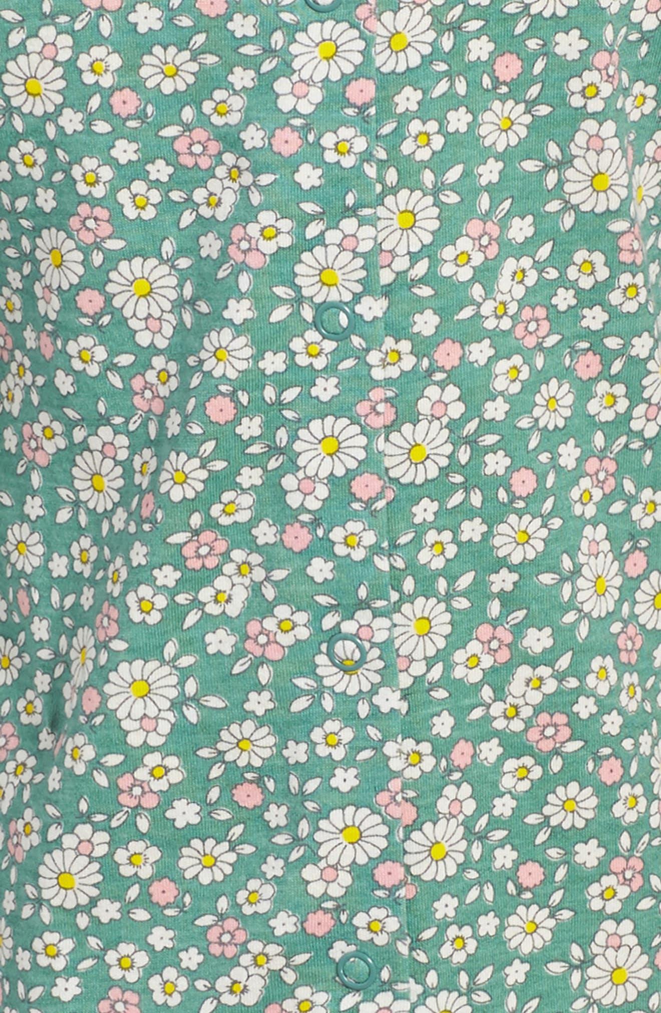 Pretty Print Jersey Dress,                             Alternate thumbnail 3, color,                             Green Vintage Daisy