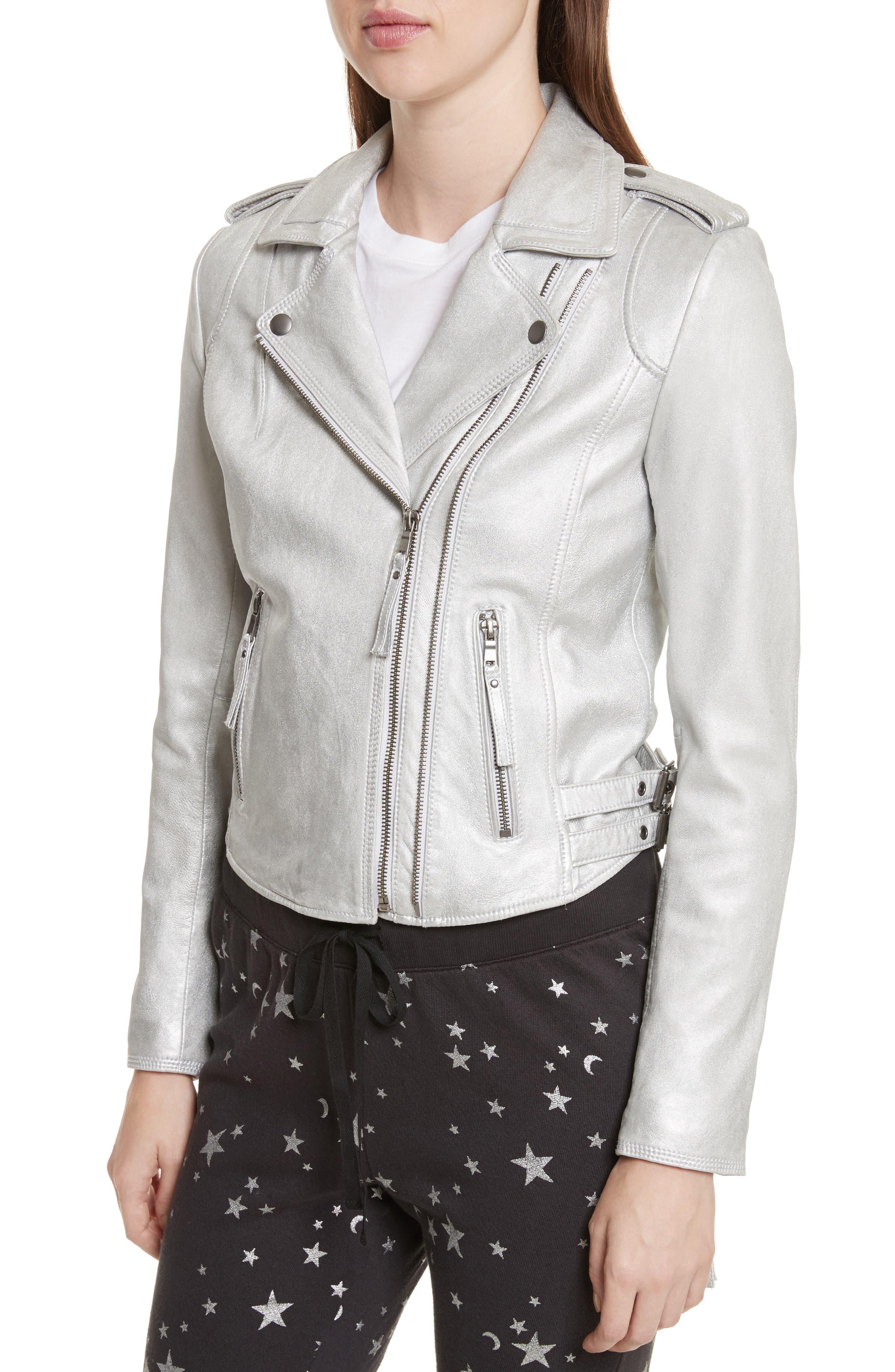 Leolani Leather Jacket,                             Alternate thumbnail 4, color,                             Silver