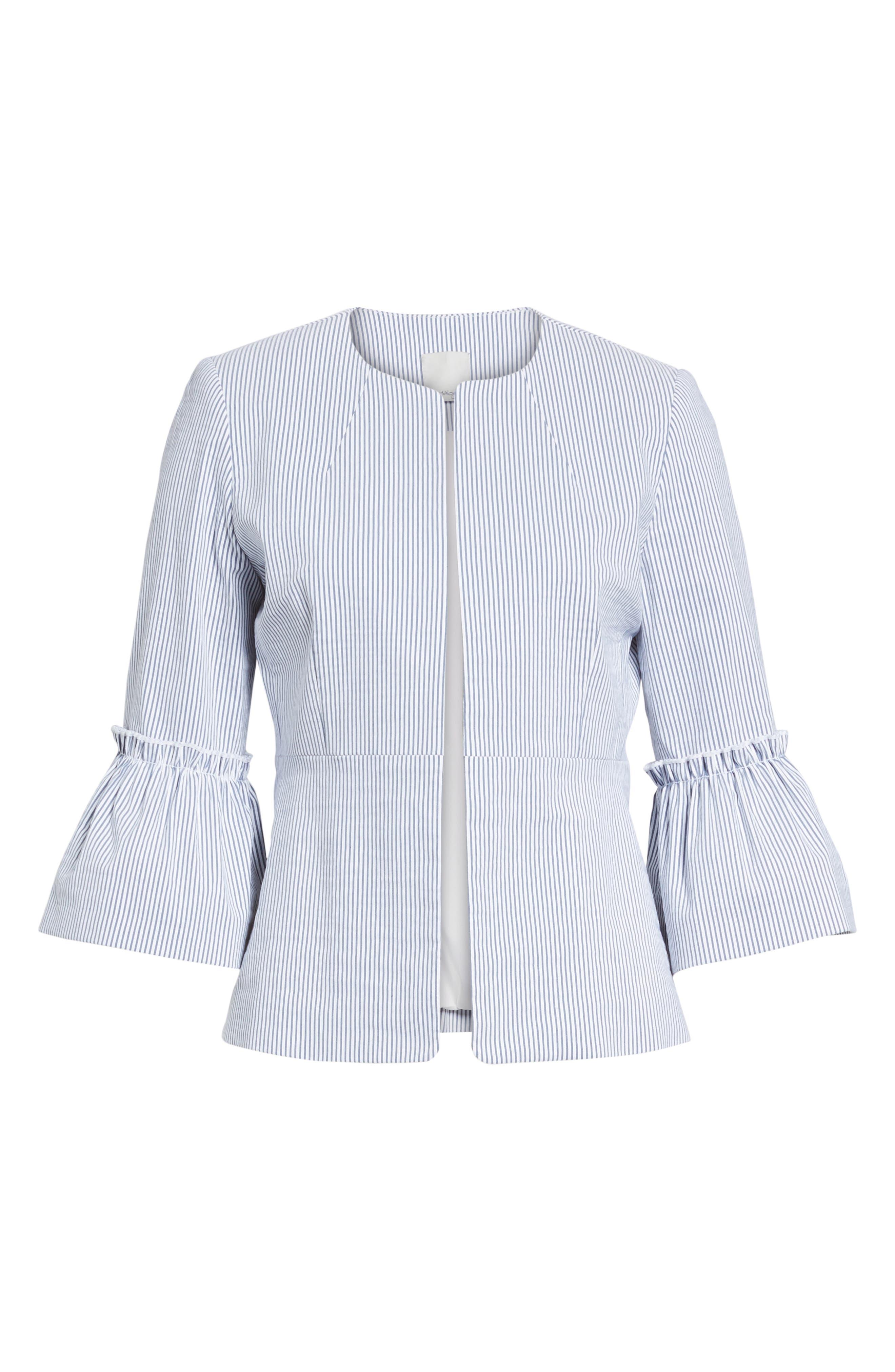 Ruffle Sleeve Open Jacket,                             Alternate thumbnail 6, color,                             Blue- White Seersucker