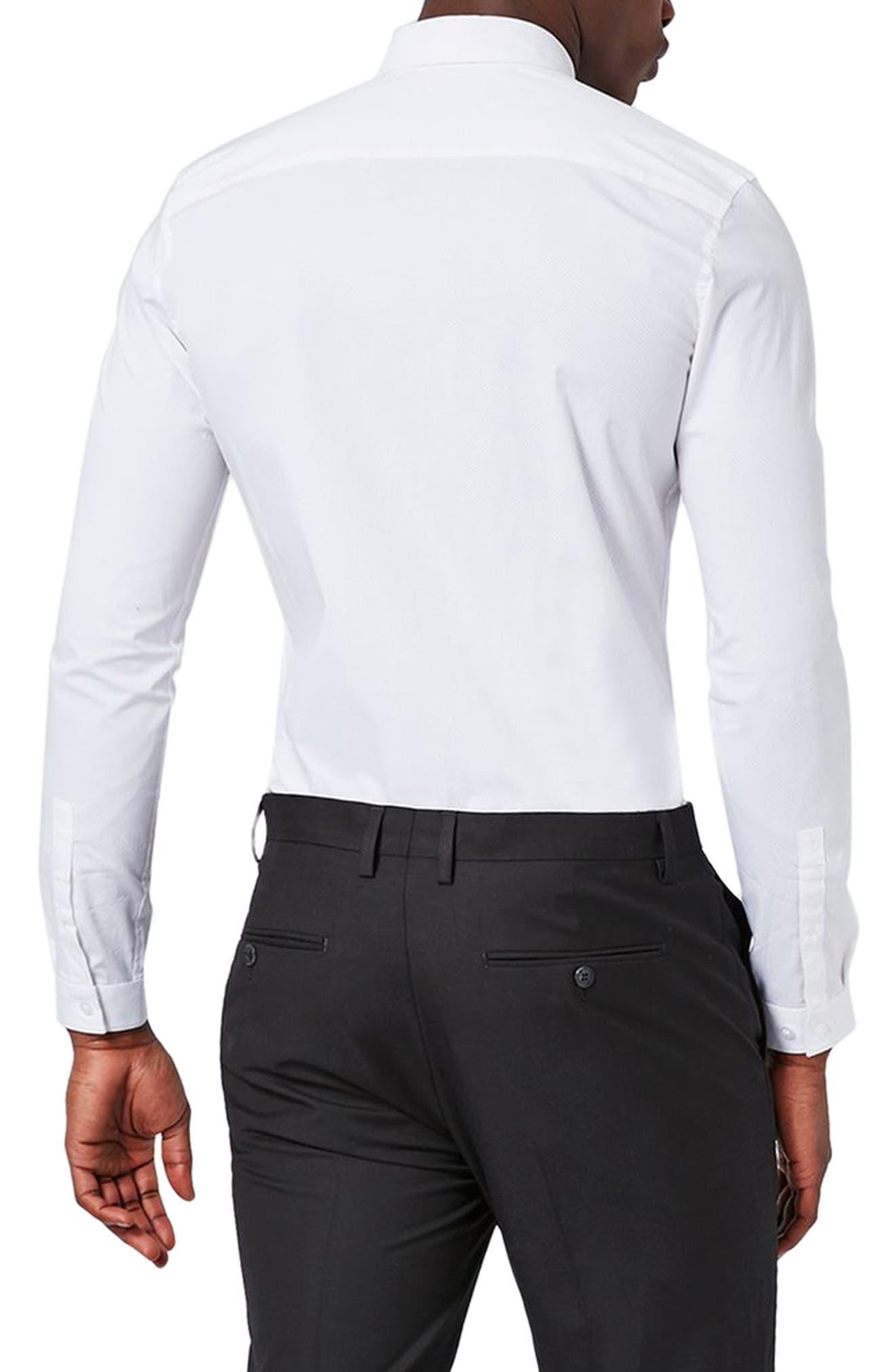 Muscle Fit Polka Dot Shirt,                             Alternate thumbnail 2, color,                             White