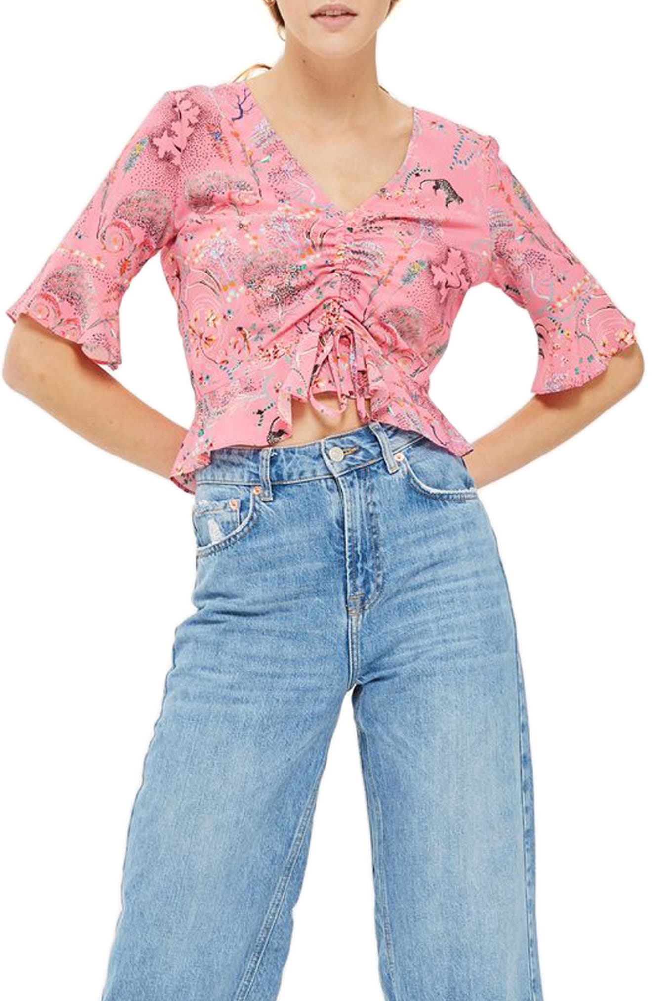 Topshop Ruby Magical Leopard Ruched Blouse