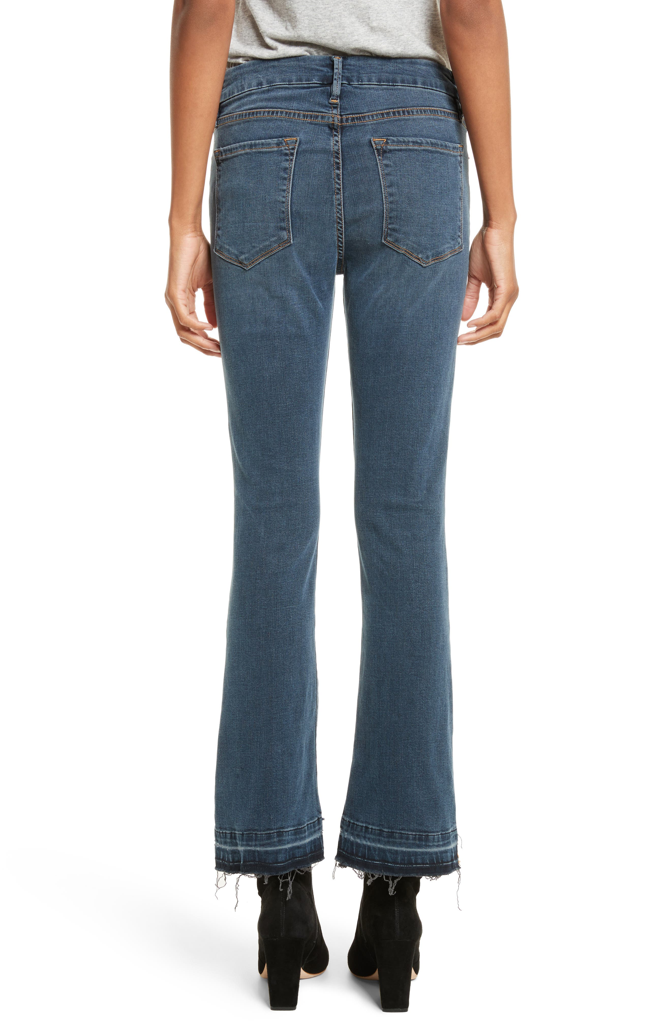 Le Crop Mini Boot Stagger Hem Jeans,                             Alternate thumbnail 3, color,                             Fenwick