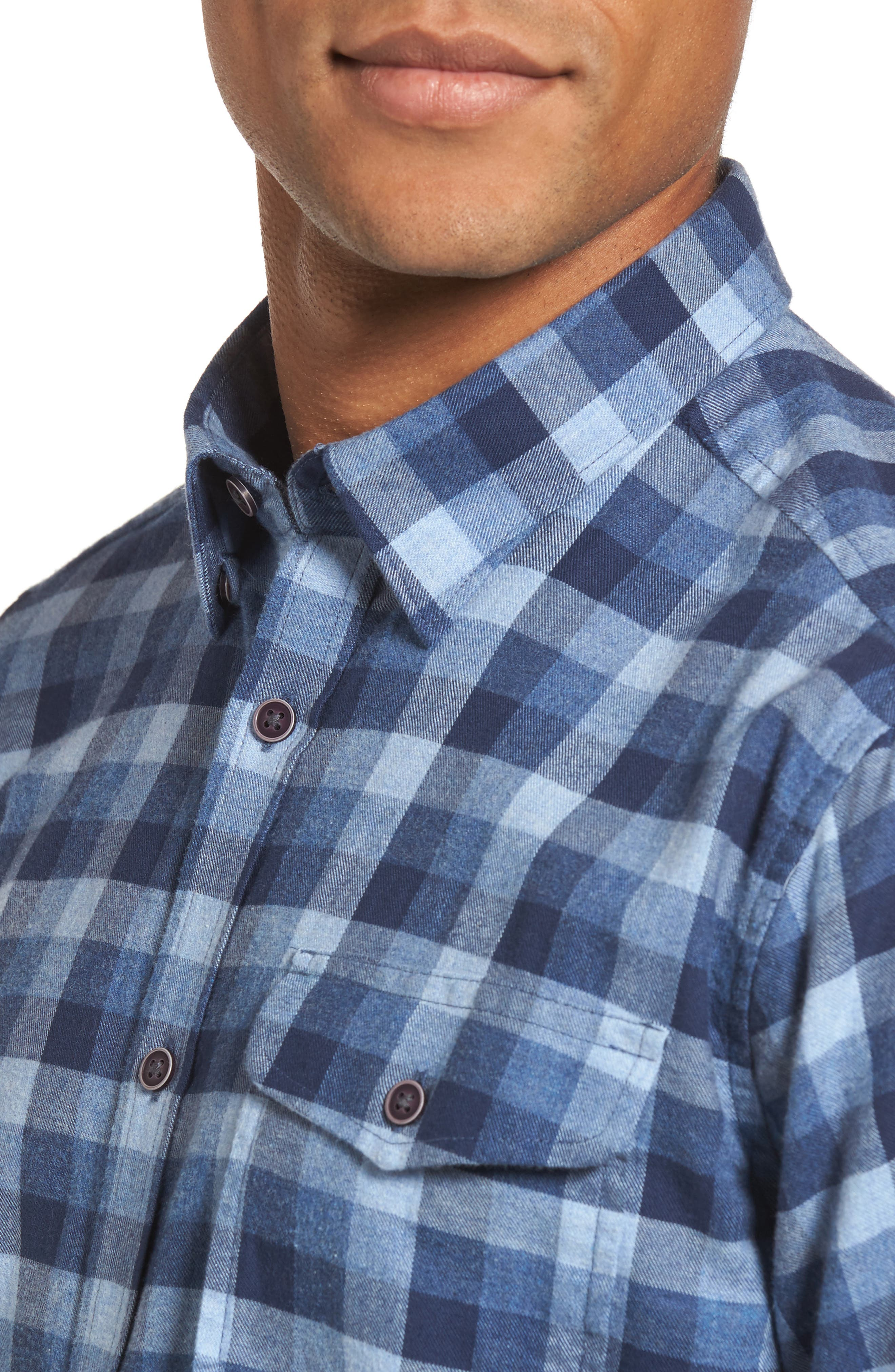 Grill Regular Fit Check Sport Shirt,                             Alternate thumbnail 4, color,                             Chambray