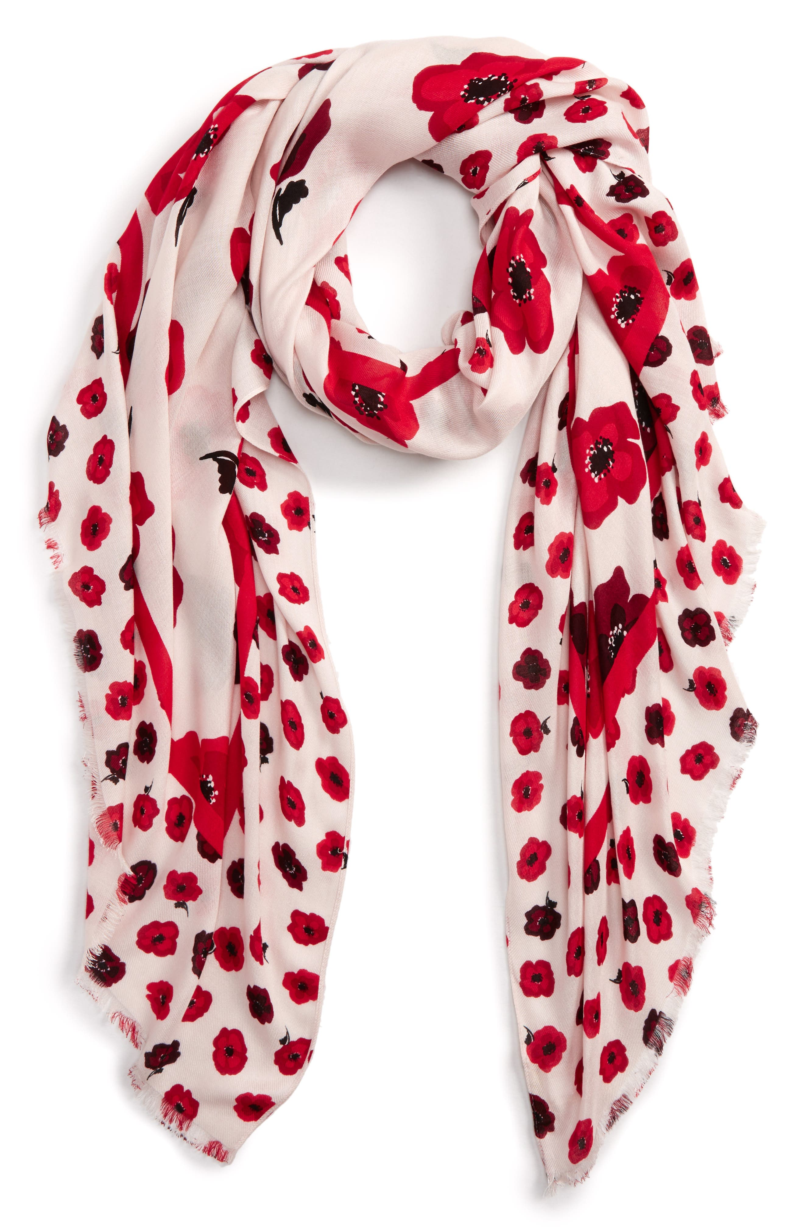 falling poppy scarf,                             Main thumbnail 1, color,                             Rose