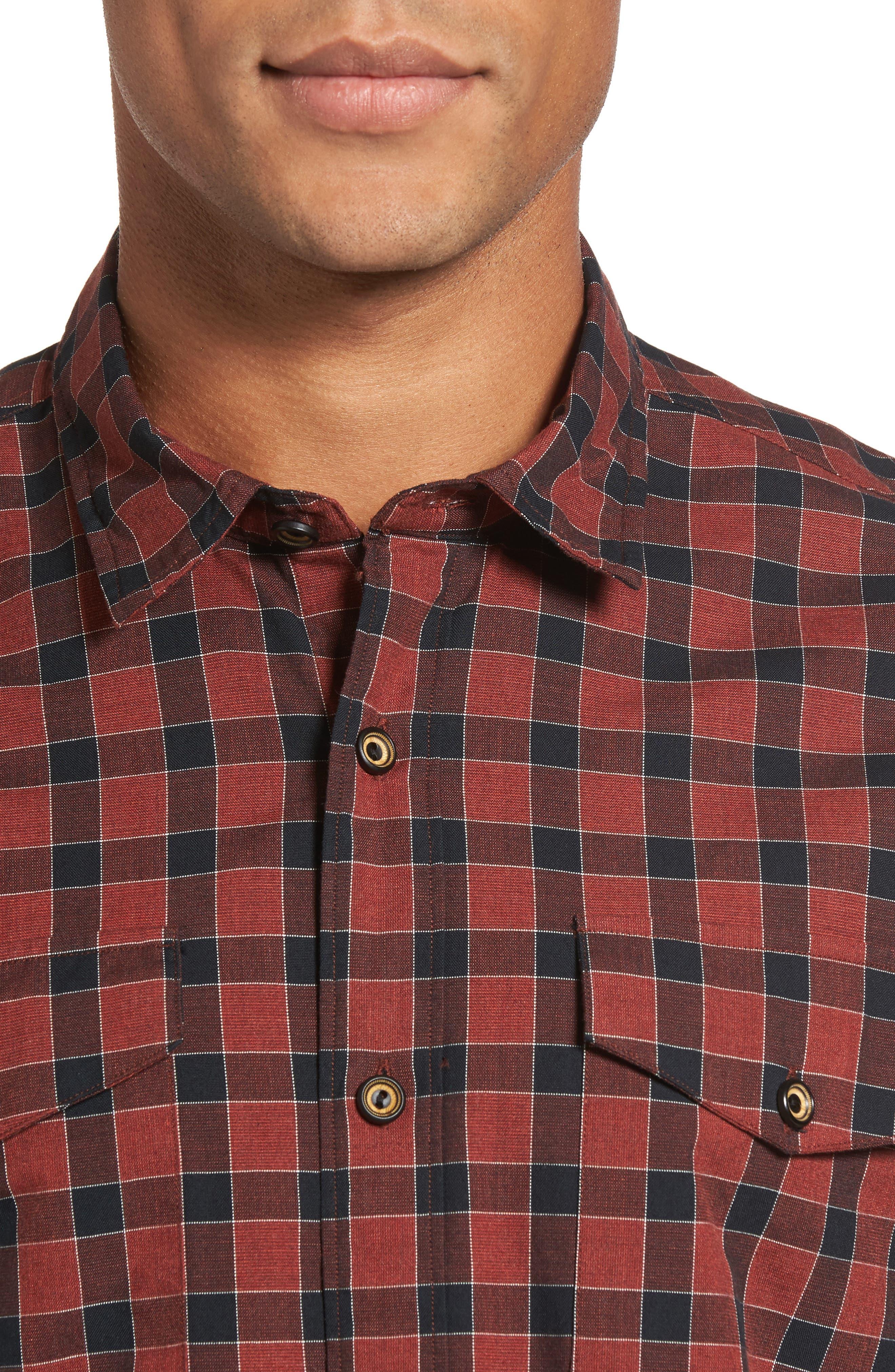 Lake Plaid Flannel Shirt,                             Alternate thumbnail 4, color,                             Red