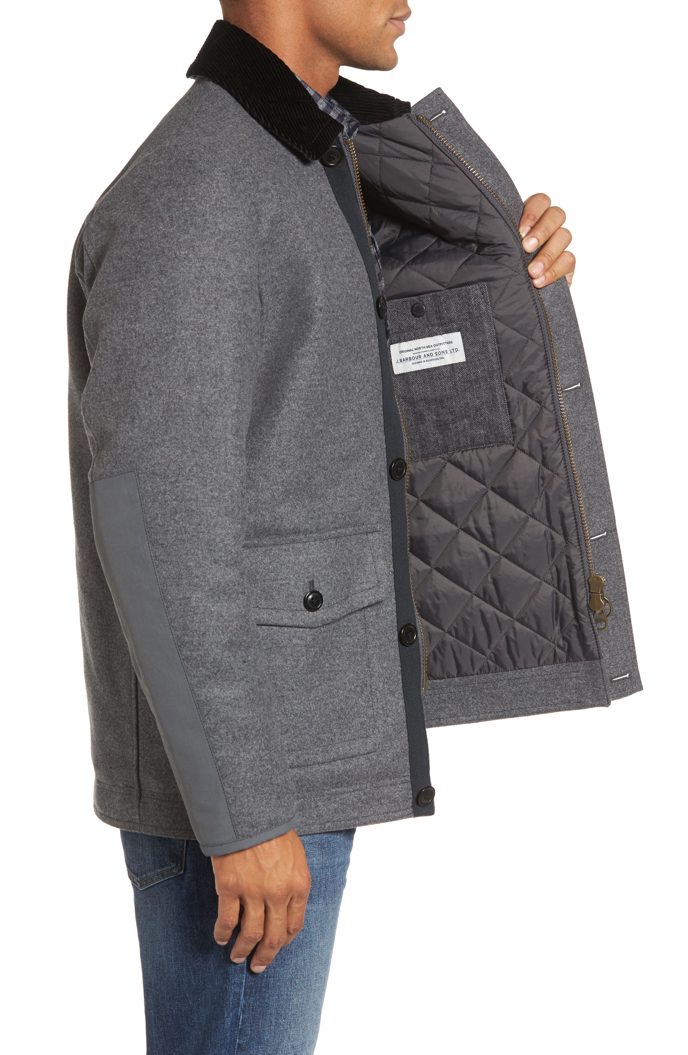 Chingle Wool Blend Deck Jacket,                             Alternate thumbnail 3, color,                             Grey
