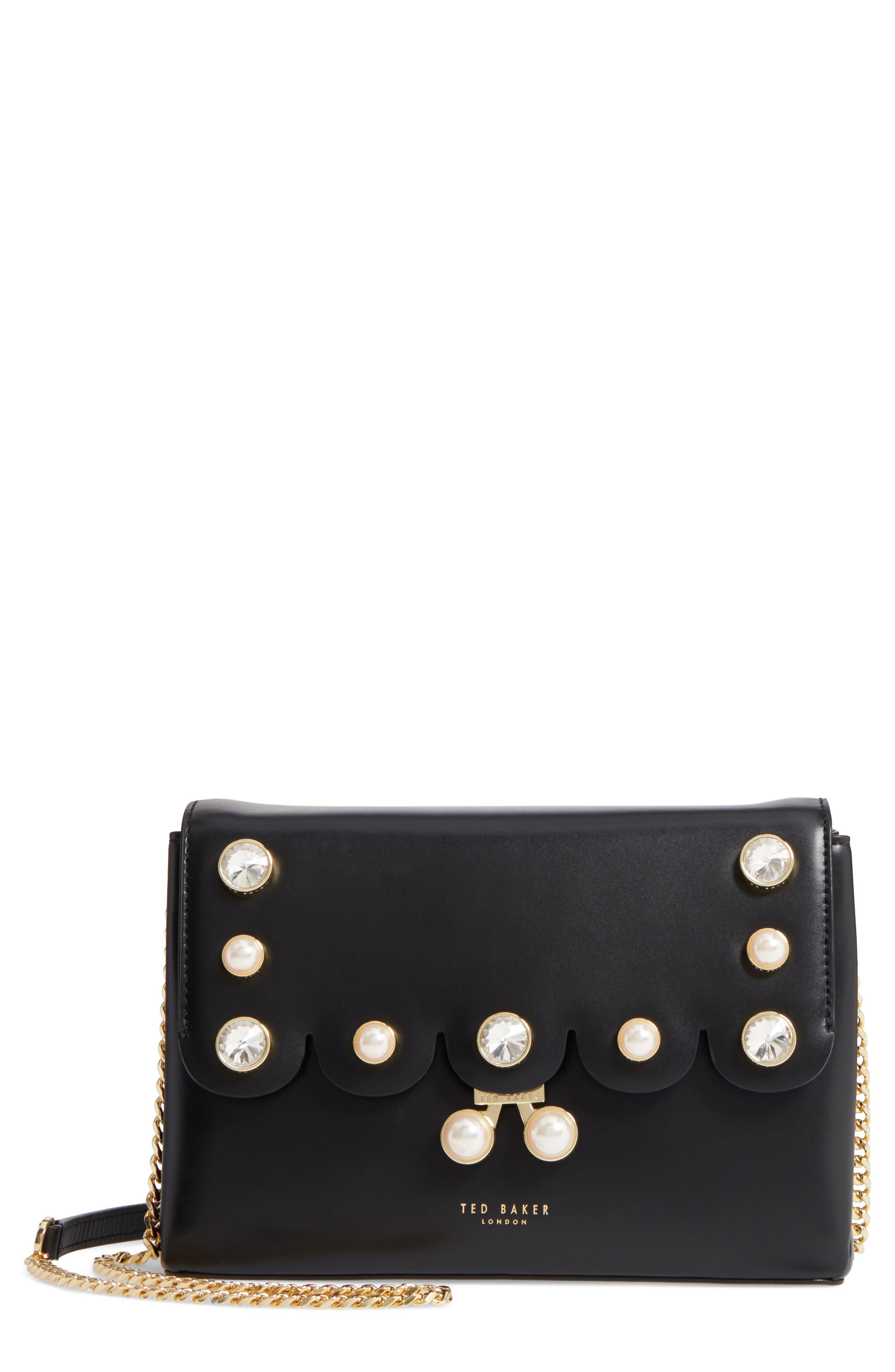 Saraa Leather Crossbody Bag,                         Main,                         color, Black