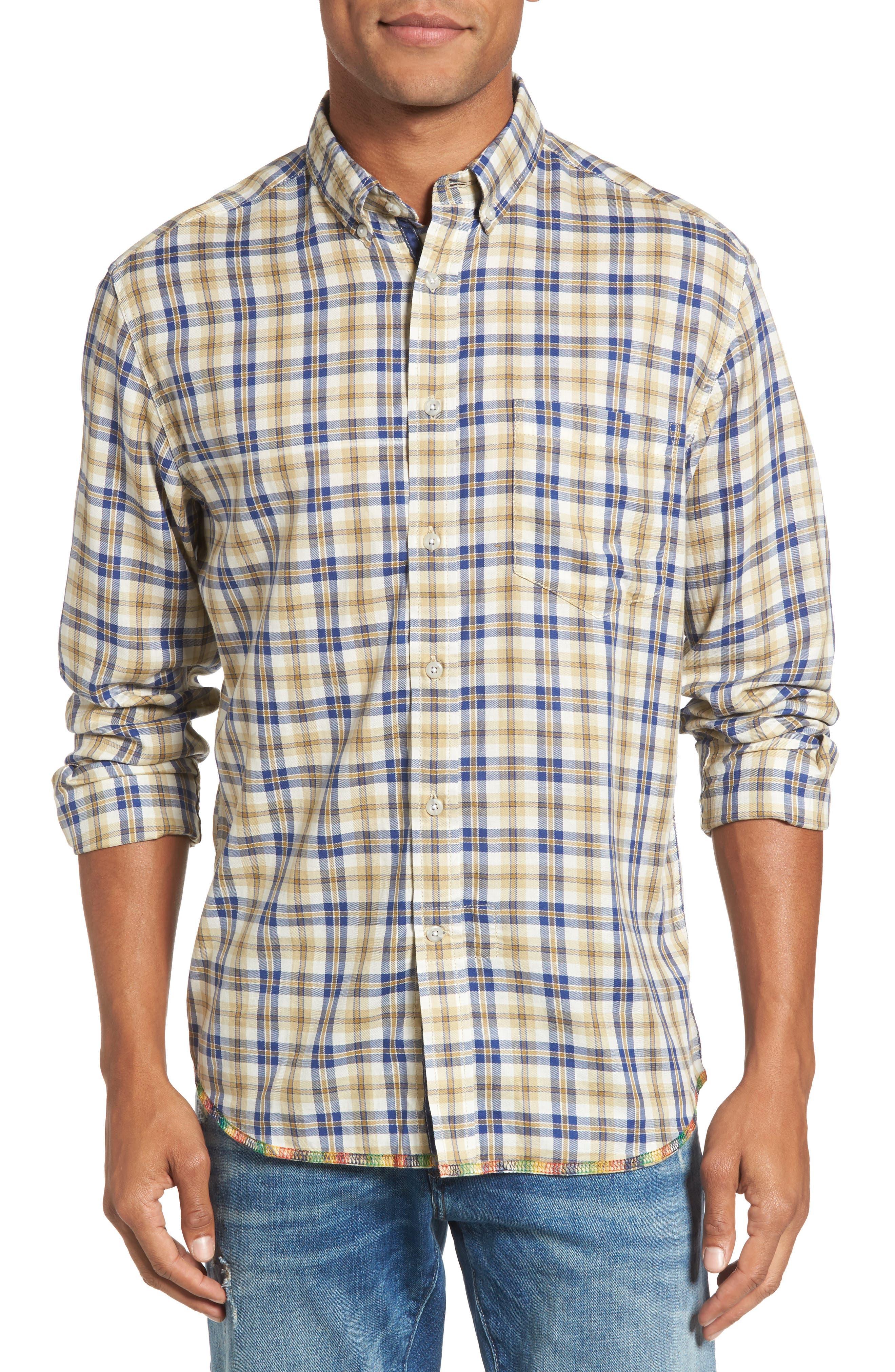 Plaid Sport Shirt,                         Main,                         color, Tan