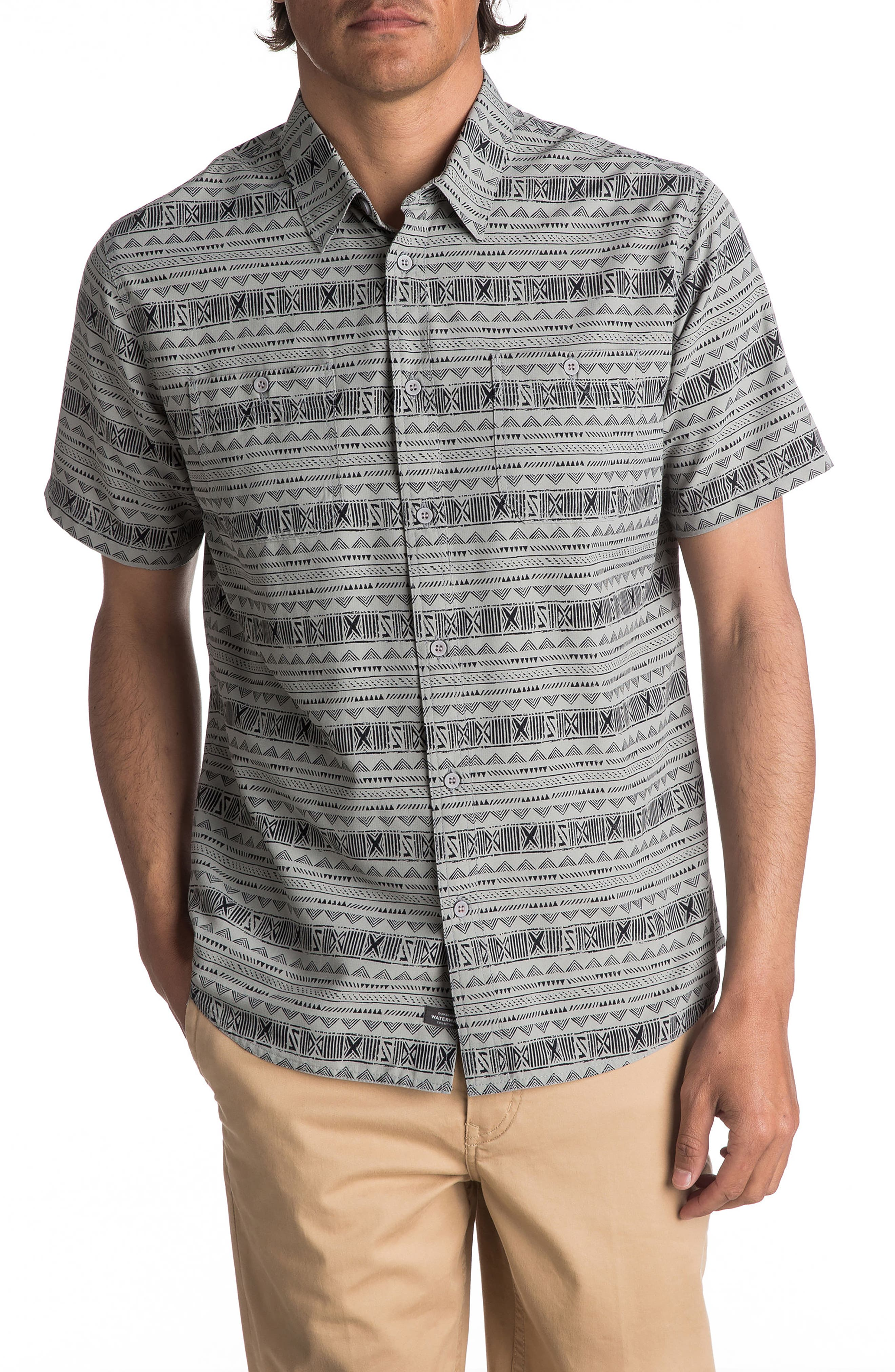 Wake Koro Geo Print Woven Shirt,                         Main,                         color, Frost Grey