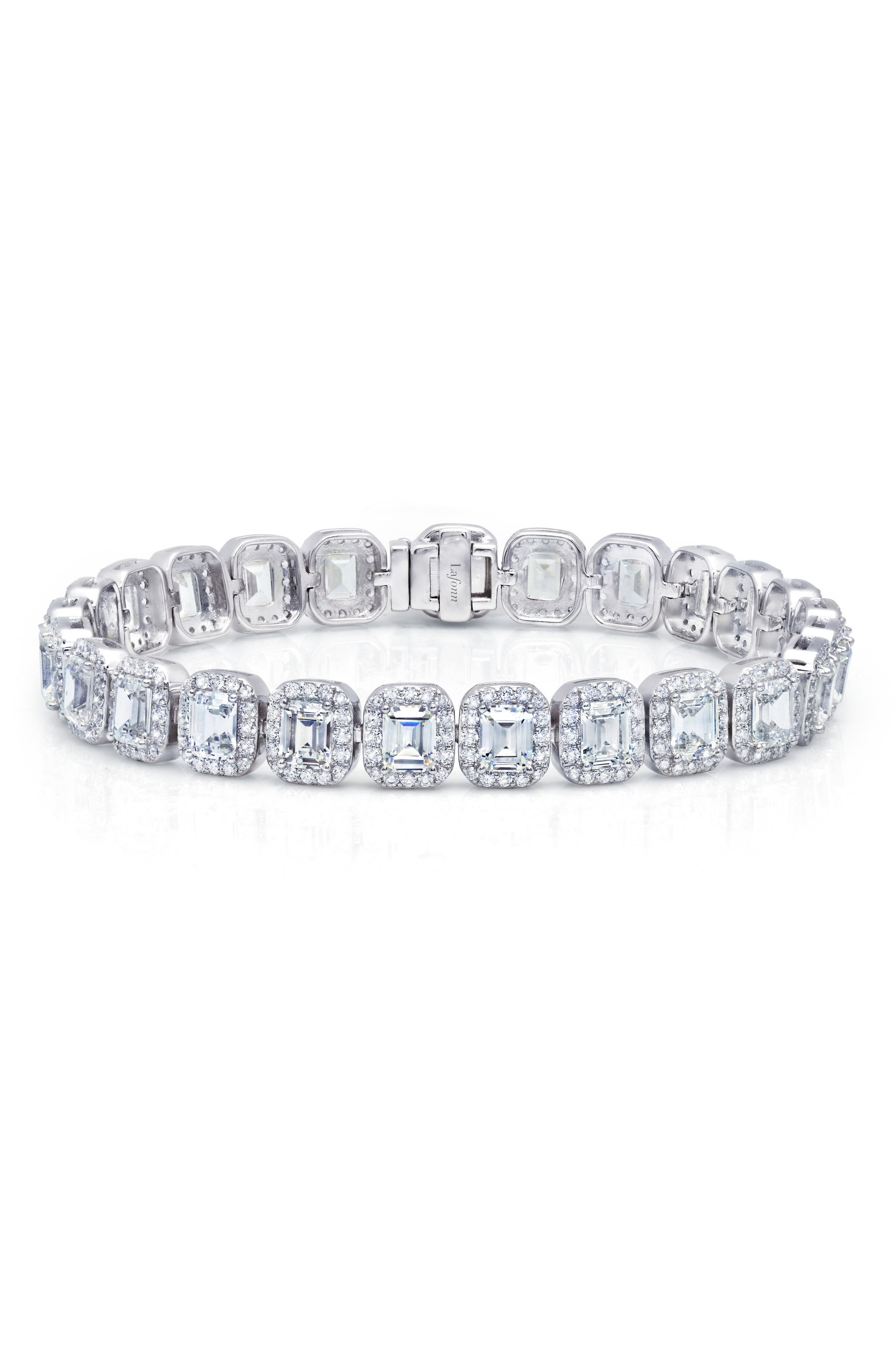 Lassaire Emerald Cut Simulated Diamond Tennis Bracelet,                             Main thumbnail 1, color,                             Silver/ Clear