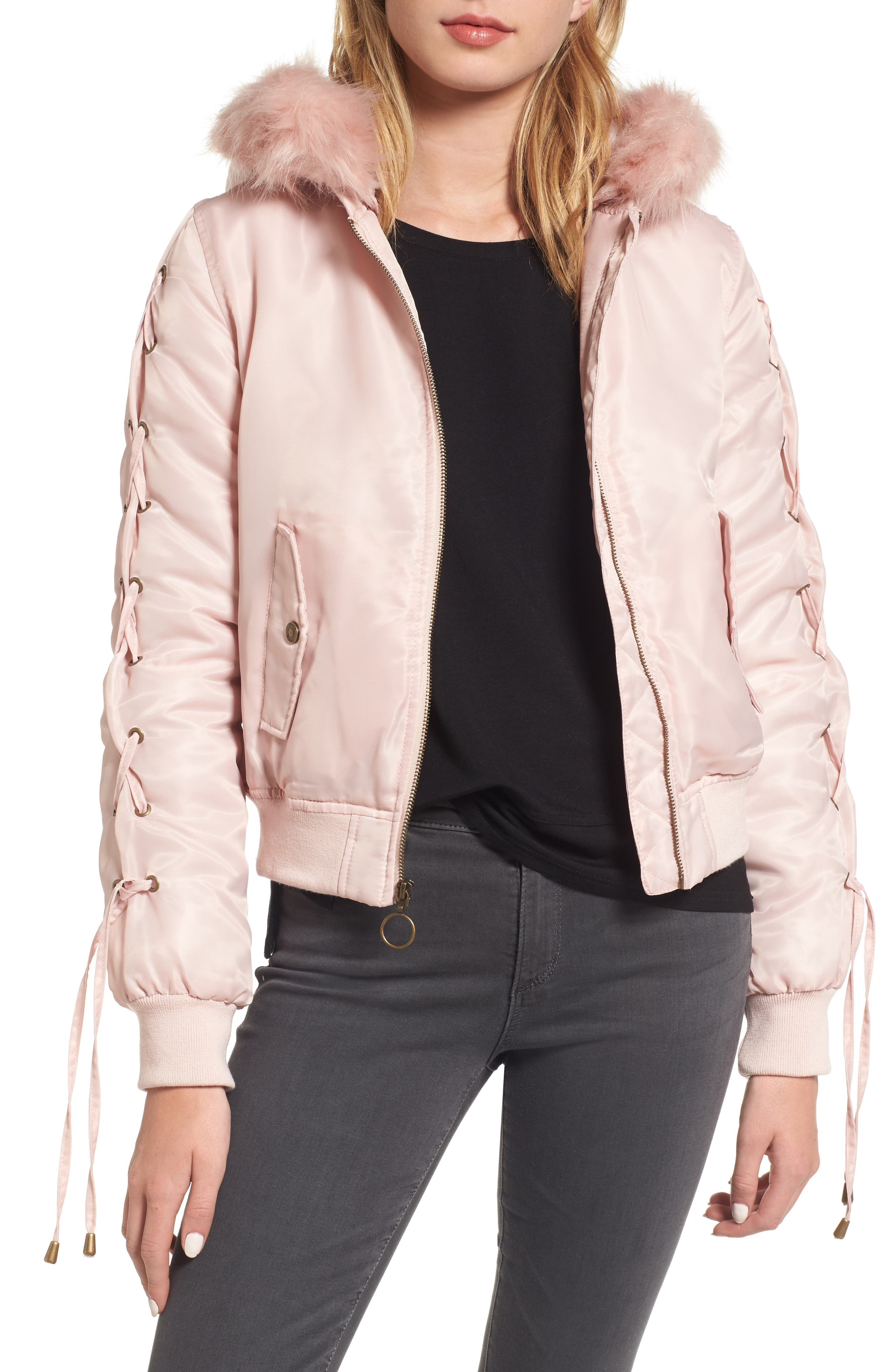 Lace-Up Sleeve Quilted Bomber Jacket,                             Main thumbnail 1, color,                             Blush