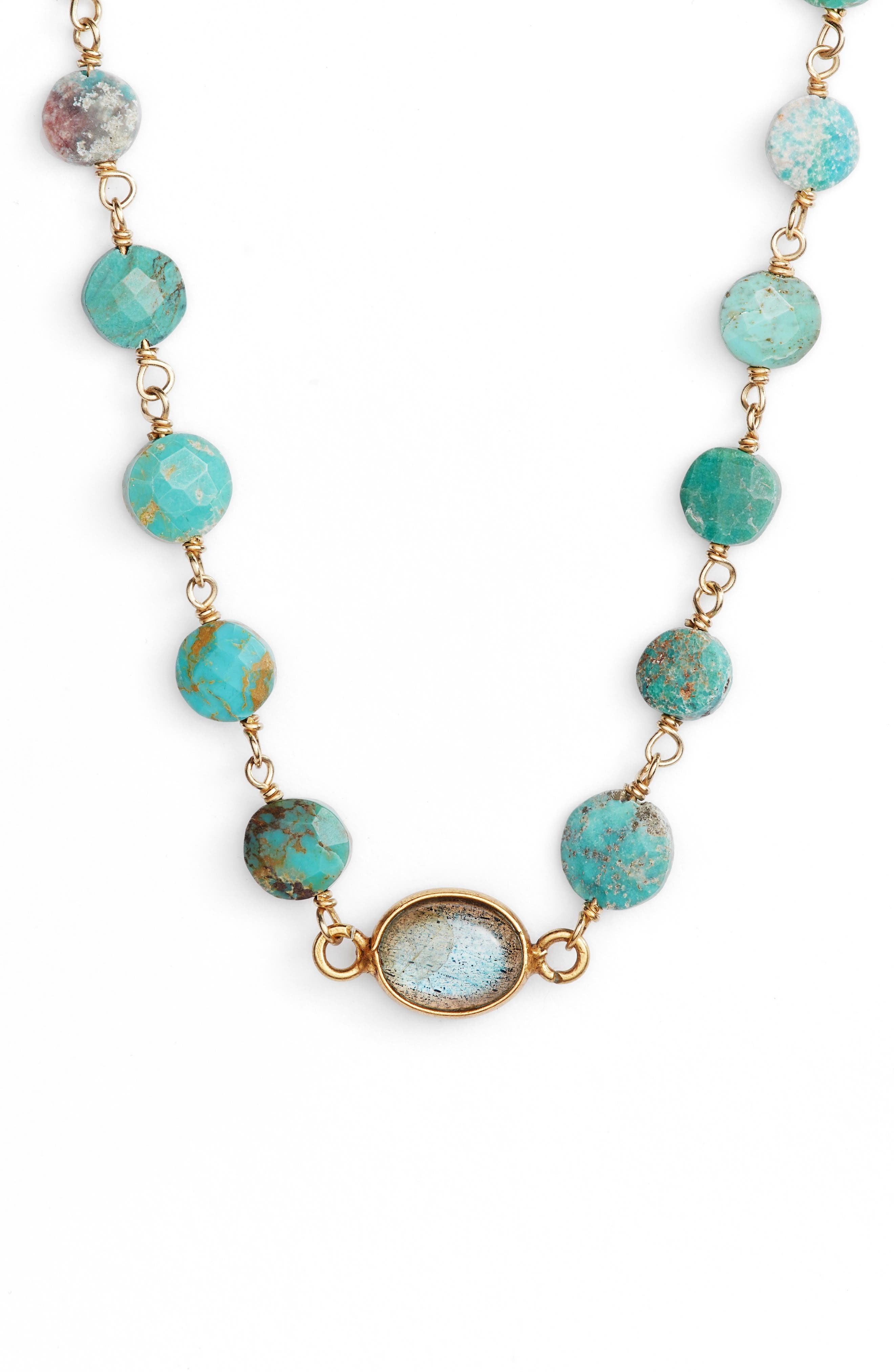 Libi Coin Pendant Necklace,                         Main,                         color, Turquoise/ Labradorite