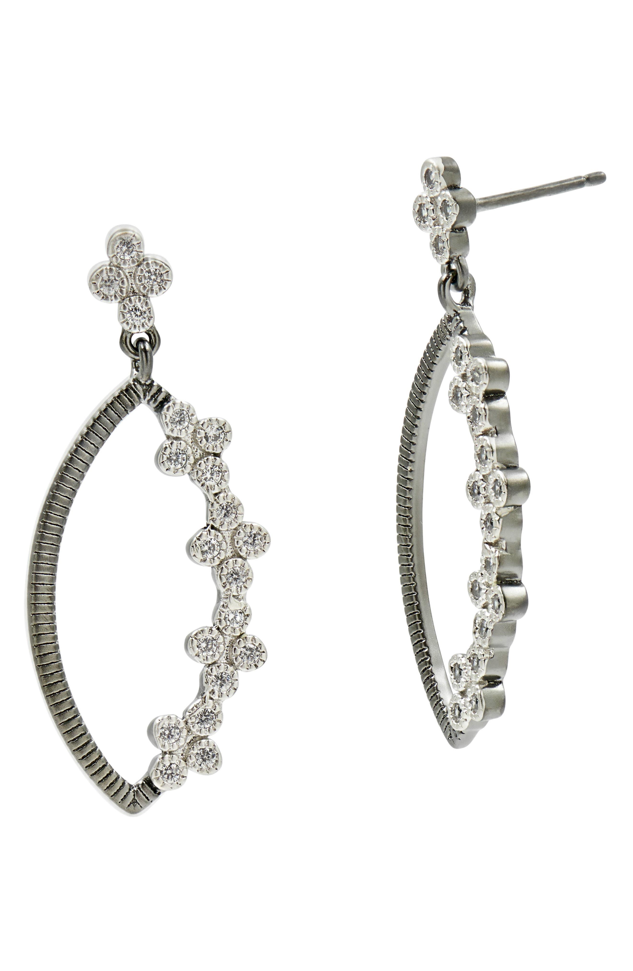 FREIDA ROTHMAN Industrial Finish Marquise Drop Earrings