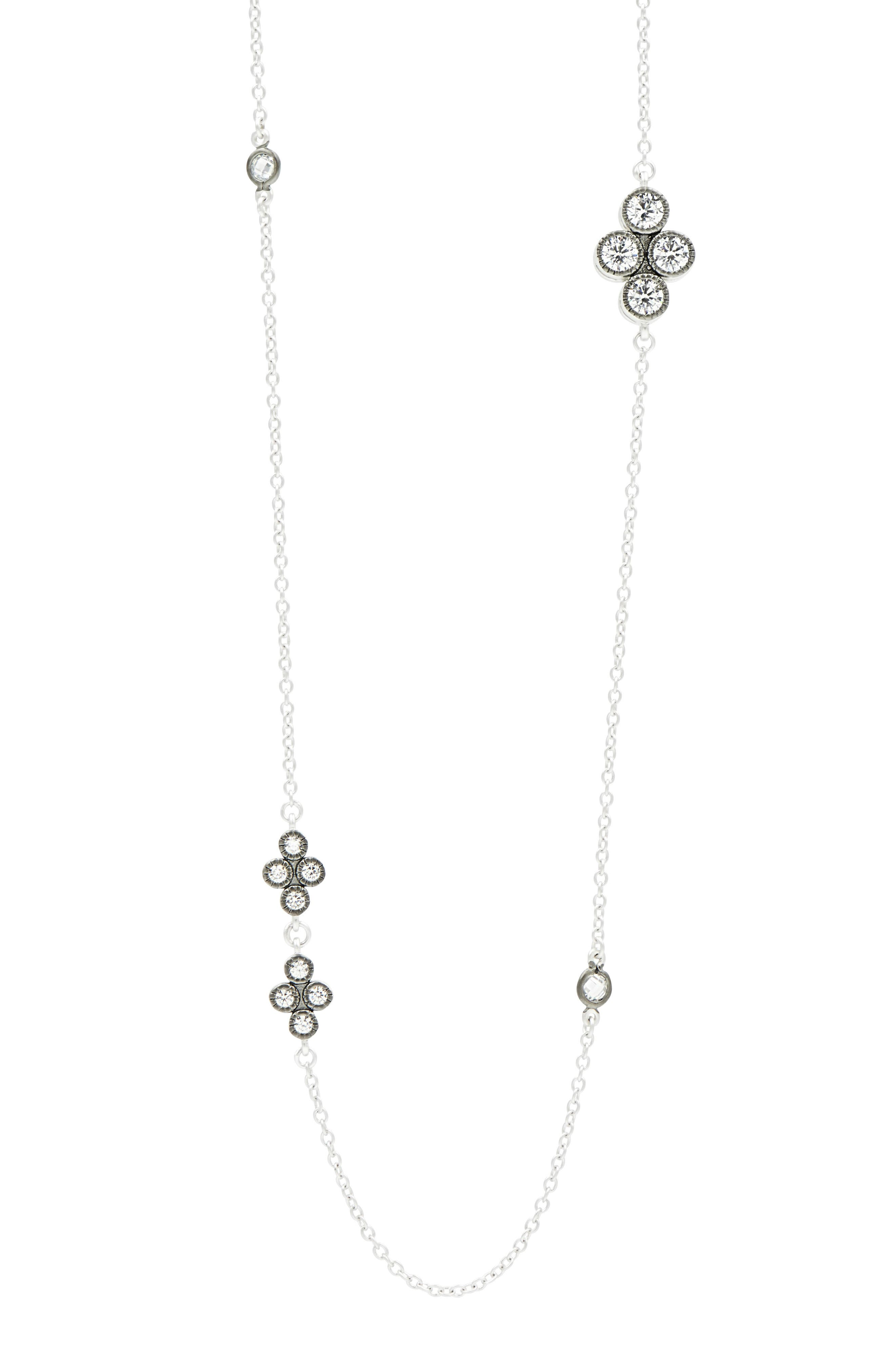Industrial Finish Long Station Necklace,                             Alternate thumbnail 2, color,                             Black/ Silver