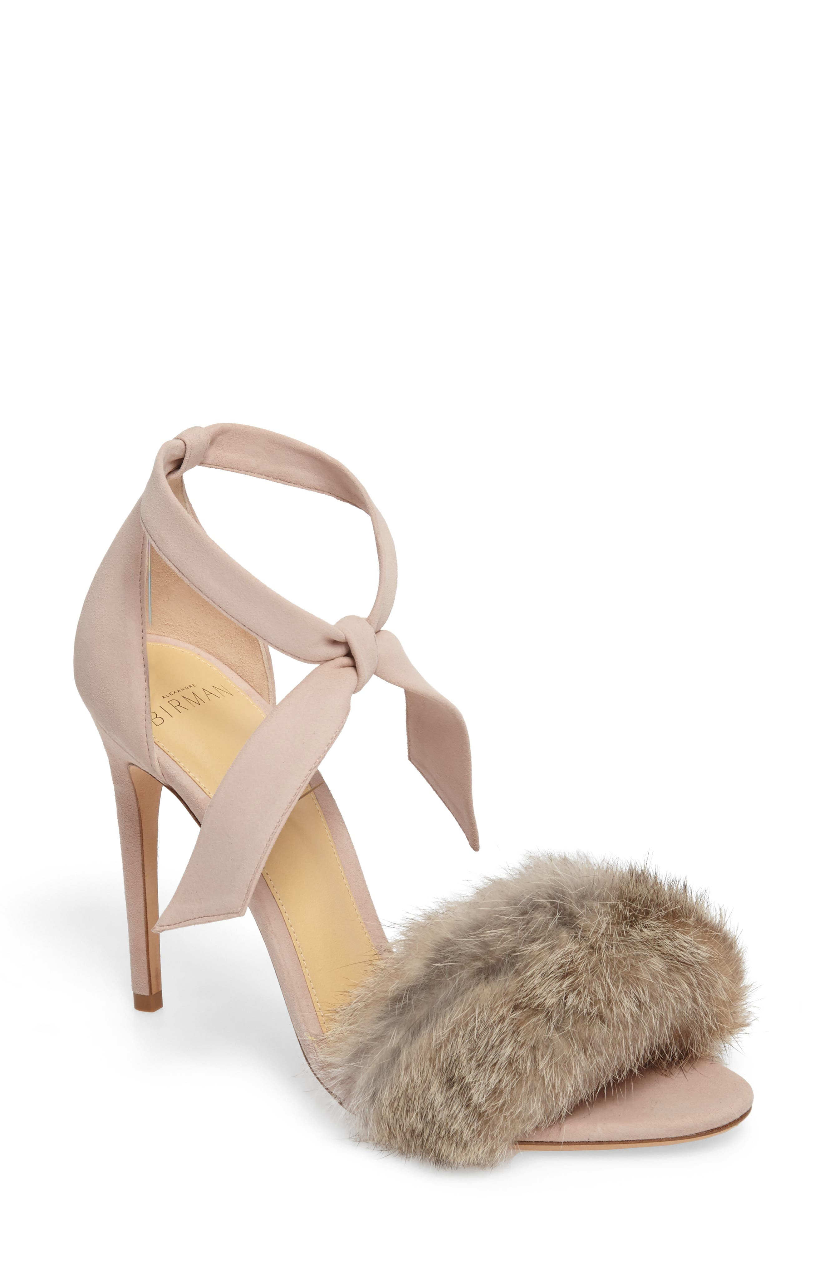 ALEXANDRE BIRMAN Clarita Genuine Rabbit Fur Sandal