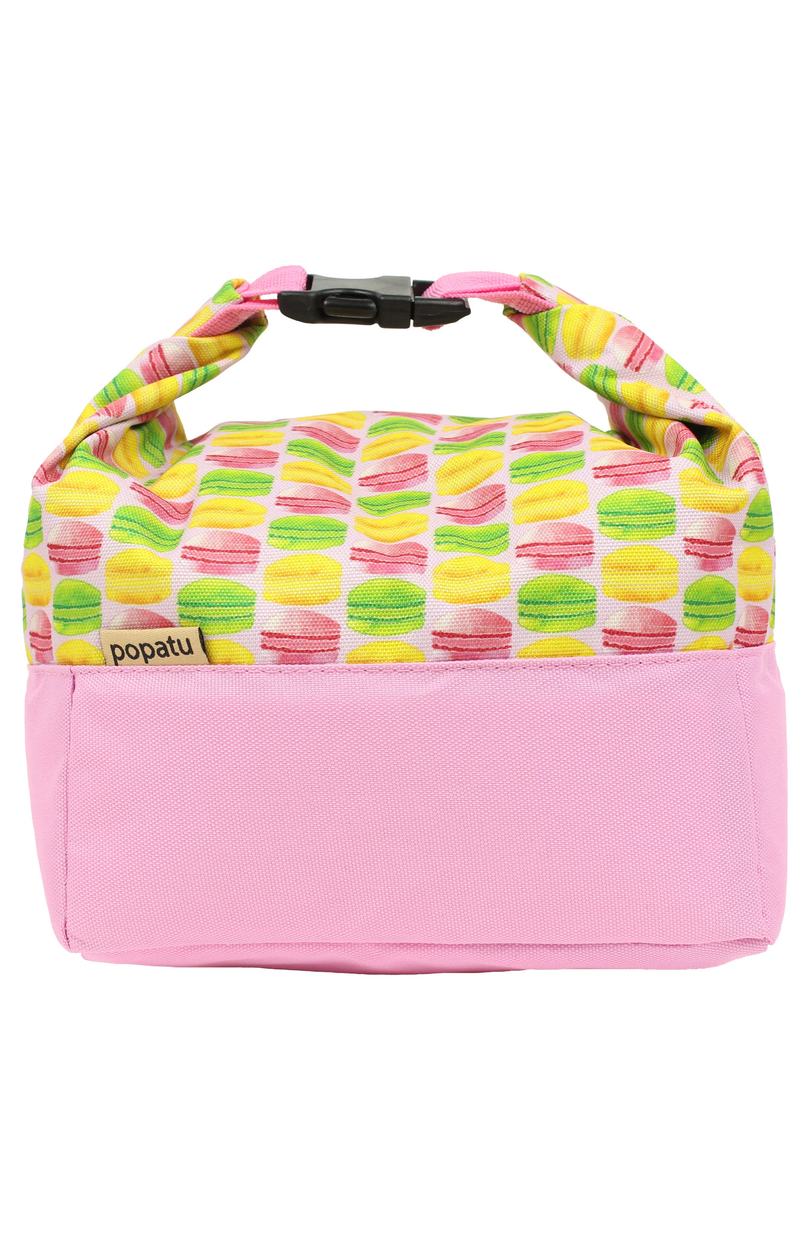 Macaron Print Roll Top Lunch Bag,                             Alternate thumbnail 4, color,                             Pink