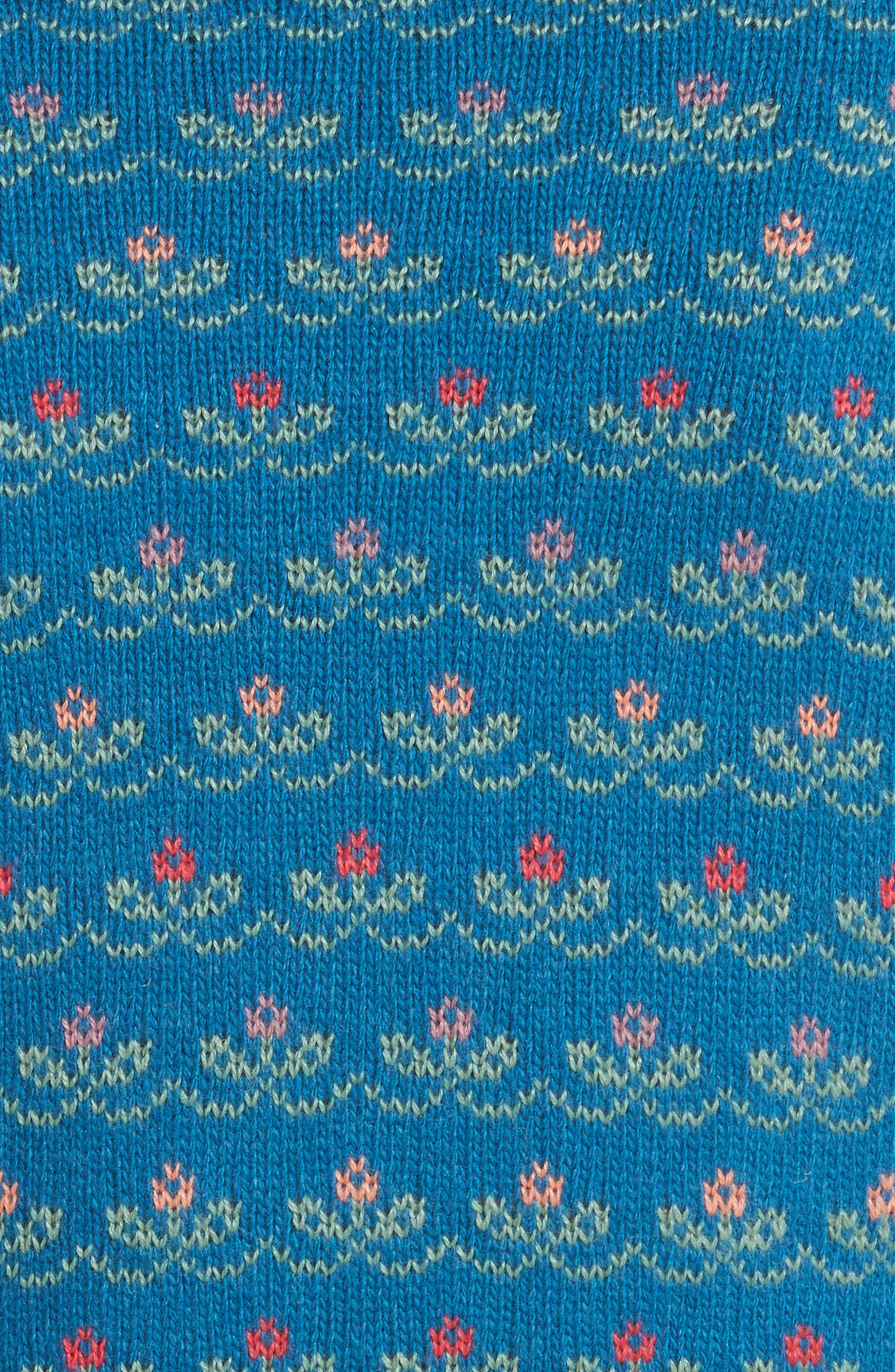 Floral Jacquard Carded Wool Blend Sweater,                             Alternate thumbnail 5, color,                             Lapislazzuli