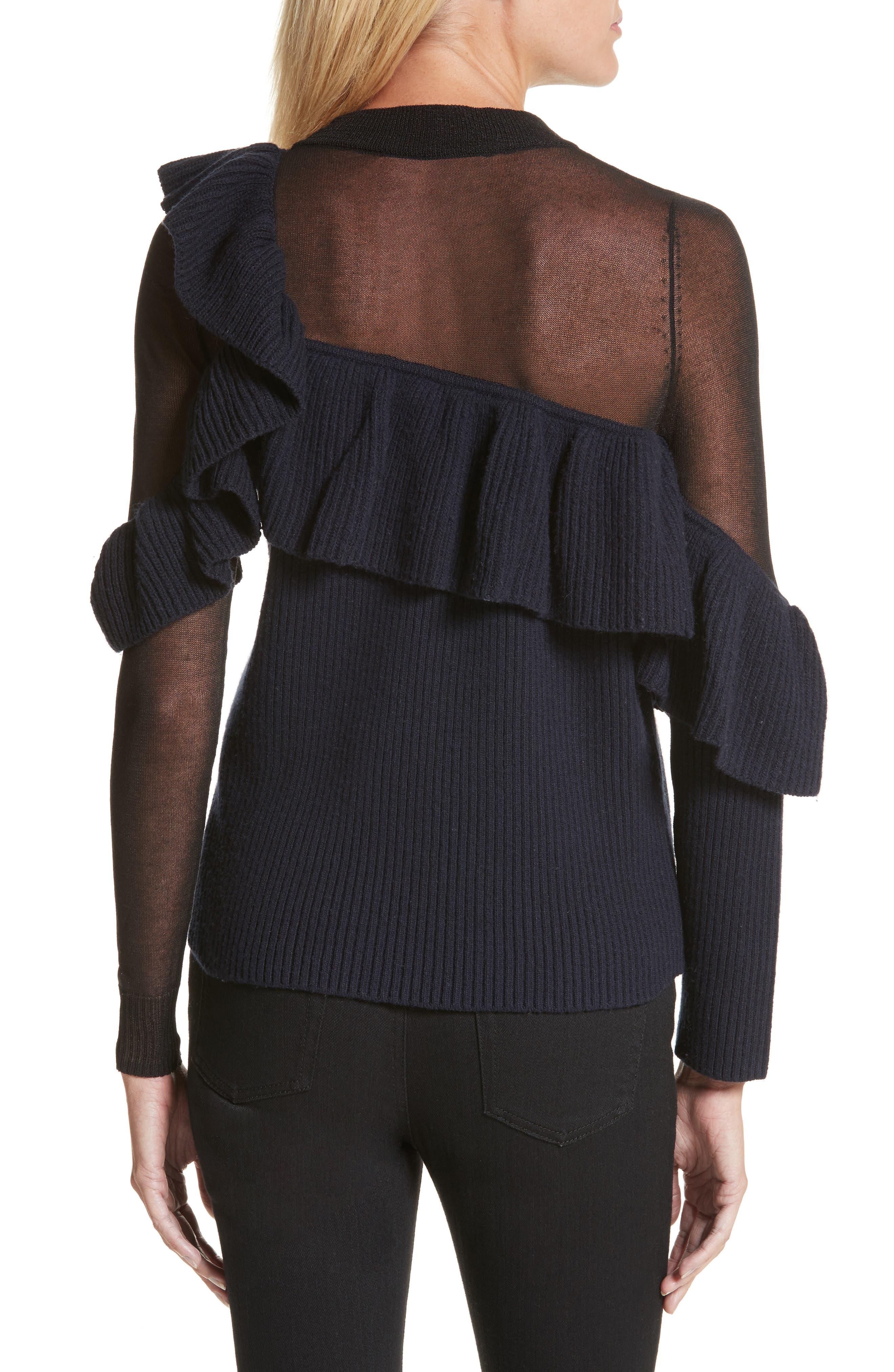 Asymmetrical Frill Illusion Sweater,                             Alternate thumbnail 2, color,                             Blue