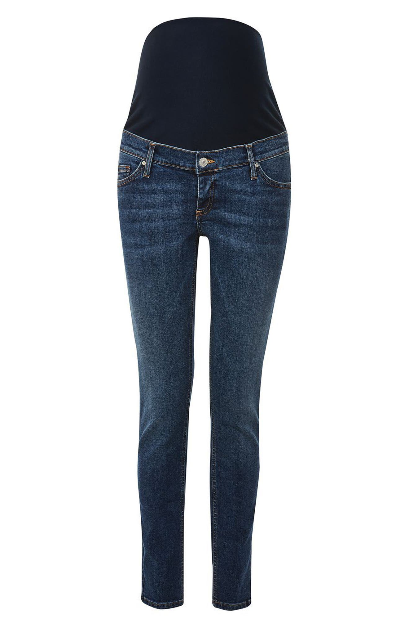 Jamie Over the Bump Maternity Skinny Jeans,                             Alternate thumbnail 3, color,                             Mid Denim