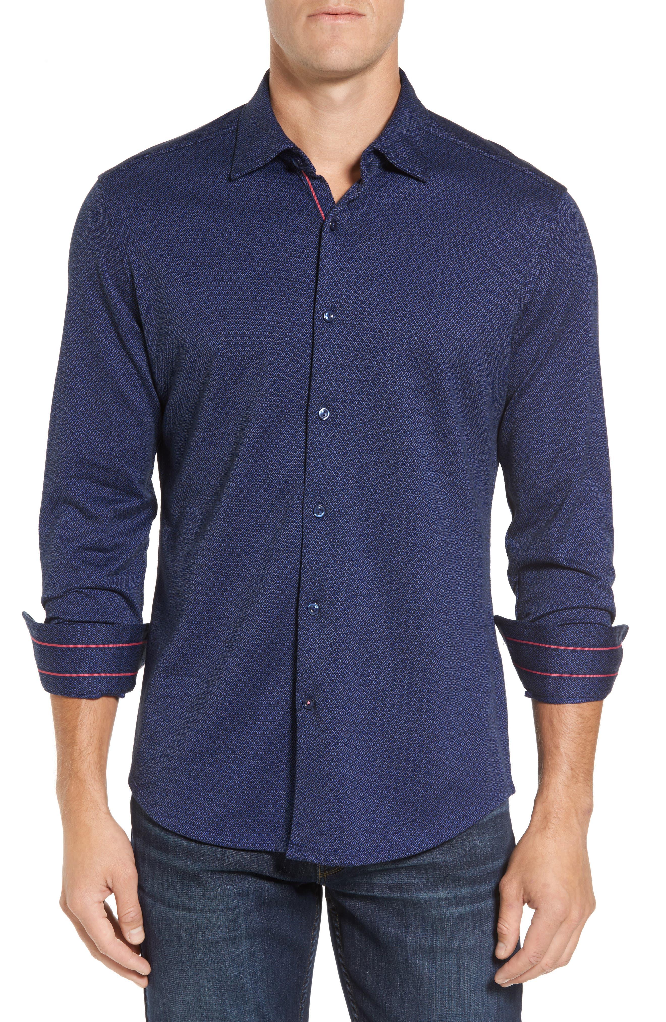 Slim Fit Dobby Diamond Sport Shirt,                         Main,                         color, Navy