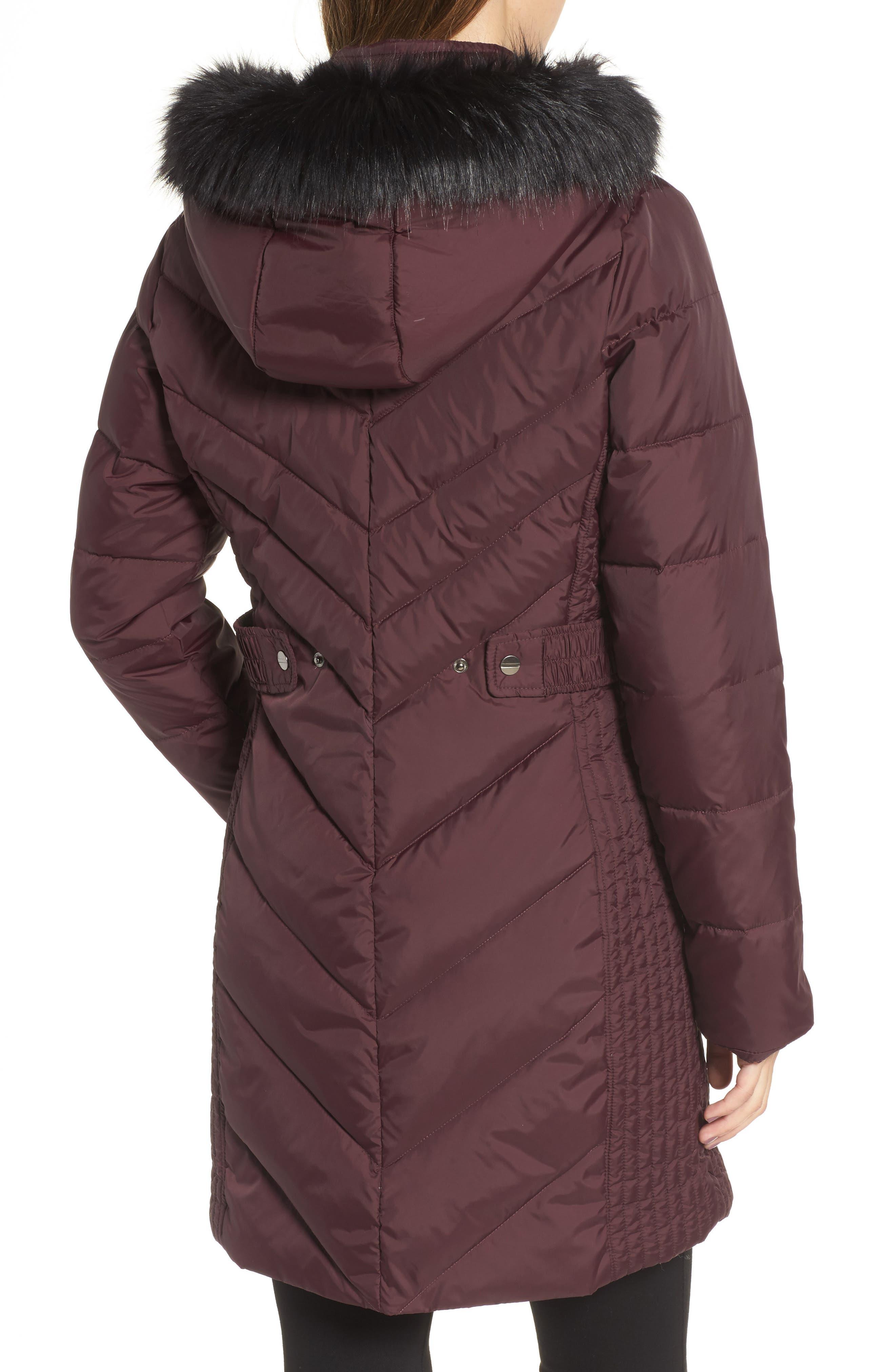 Alternate Image 2  - Larry Levine Faux Fur Trim Hooded Jacket