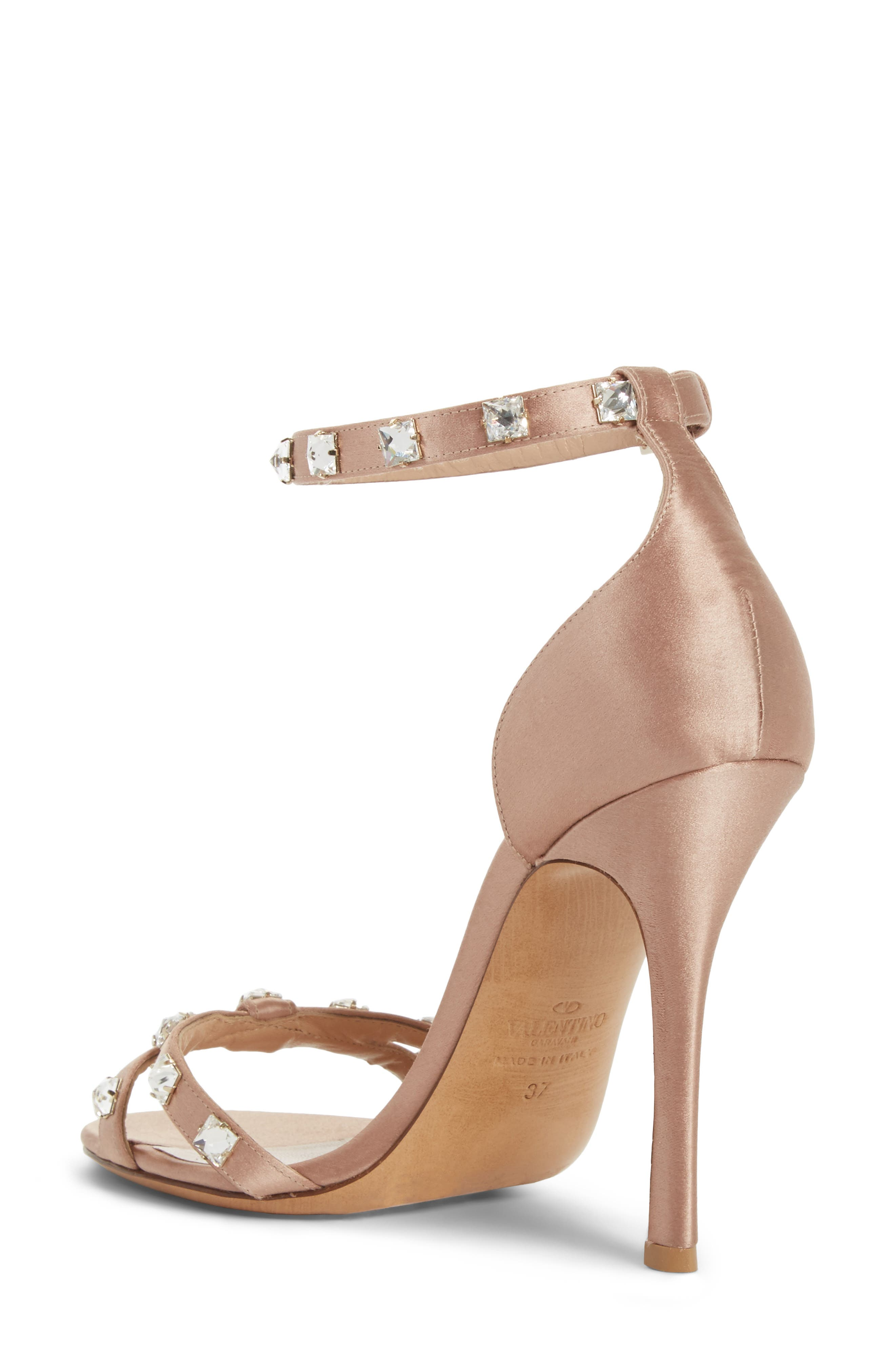 Rockstud Glam Ankle Strap Sandal,                             Alternate thumbnail 2, color,                             Beige