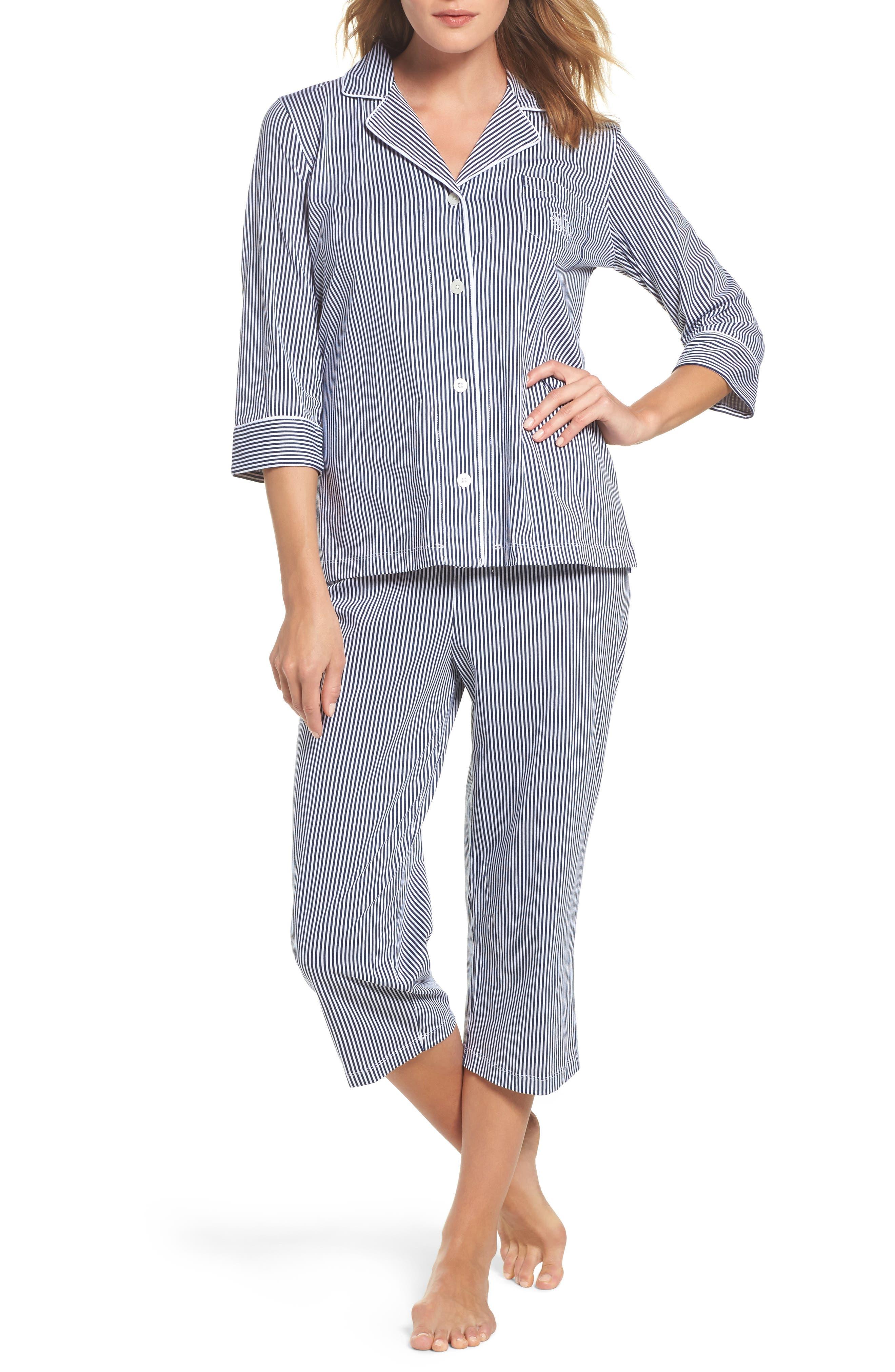 Alternate Image 1 Selected - Lauren Ralph Lauren Knit Crop Pajamas (Online Only)