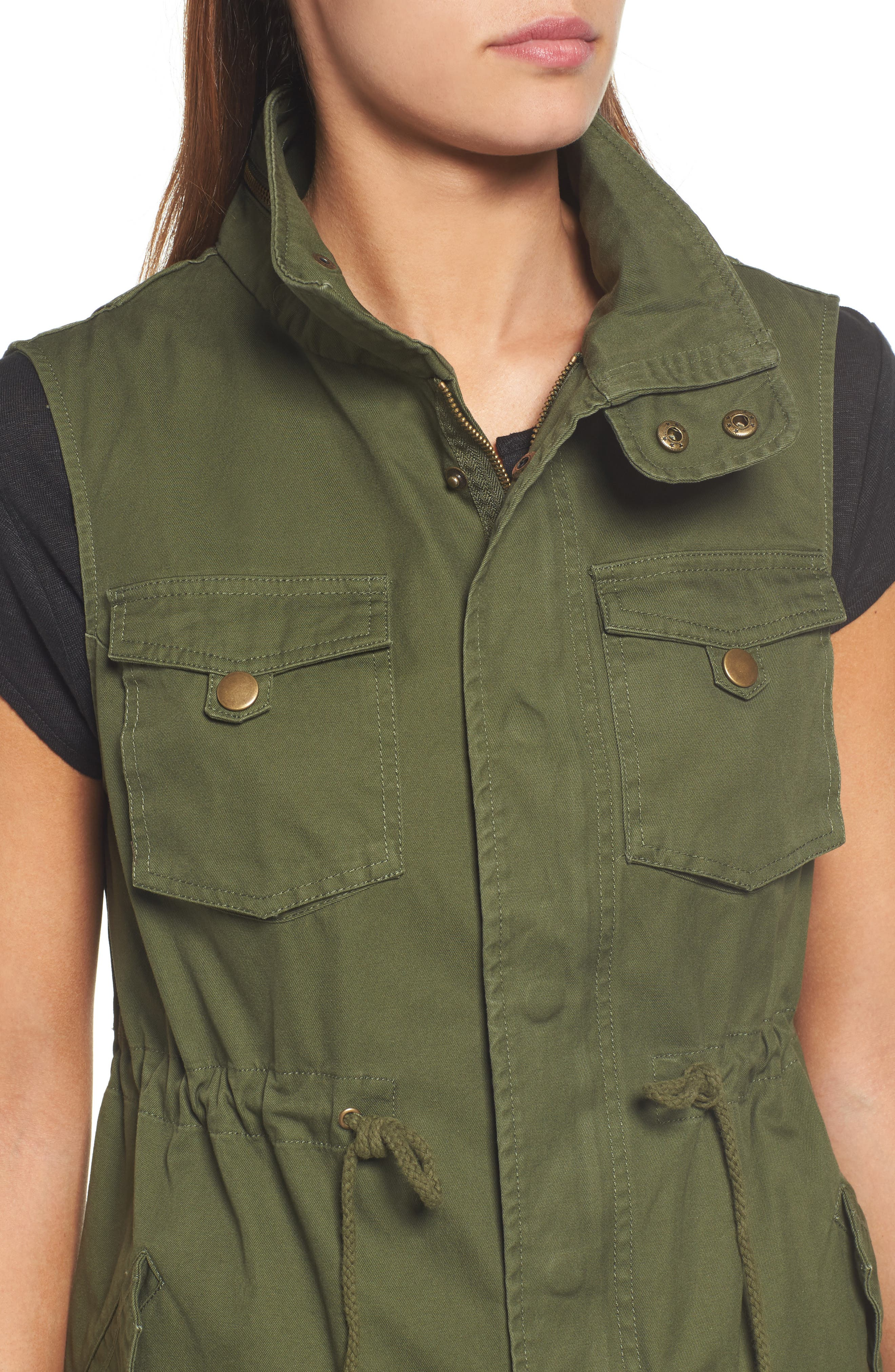Alternate Image 4  - Pleione Cotton Twill Military Vest (Regular & Petite)