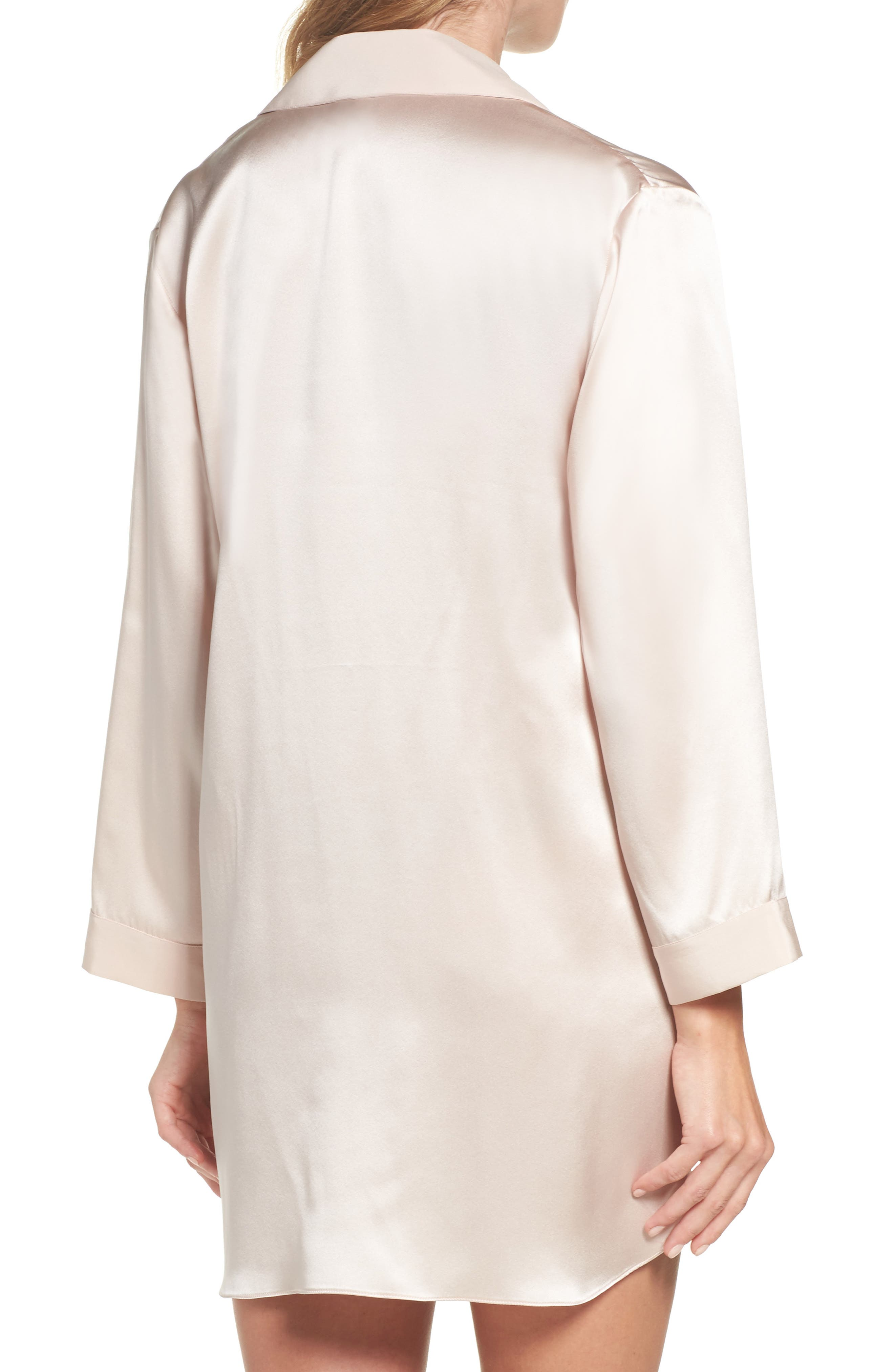 Alternate Image 2  - Christine Silk Sleep Shirt