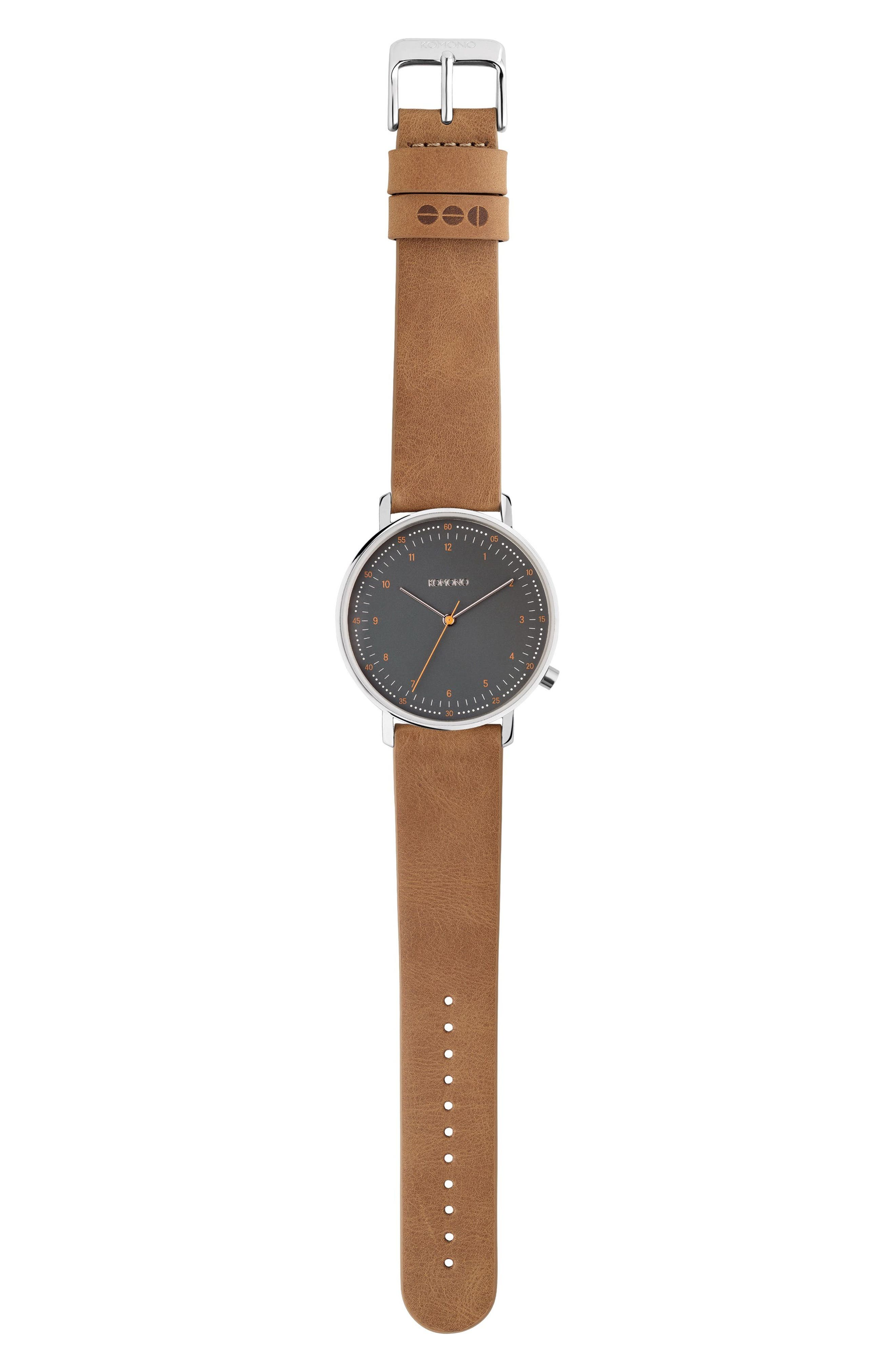 Lewis Leather Strap Watch, 40mm,                         Main,                         color, Black/ Cigar